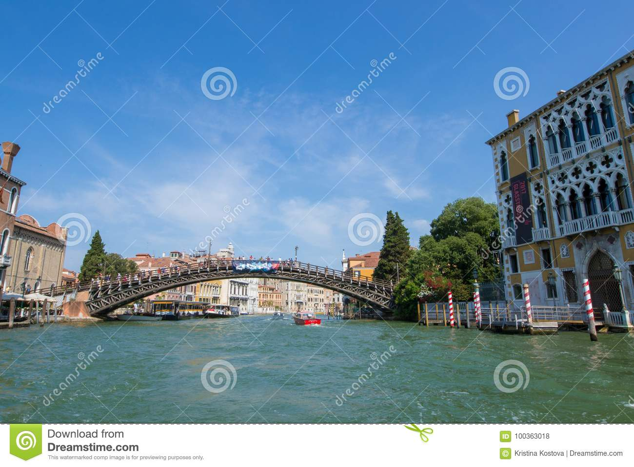 Beautiful view of Venice and the Grand Canal. Ponte dell`Accademia.