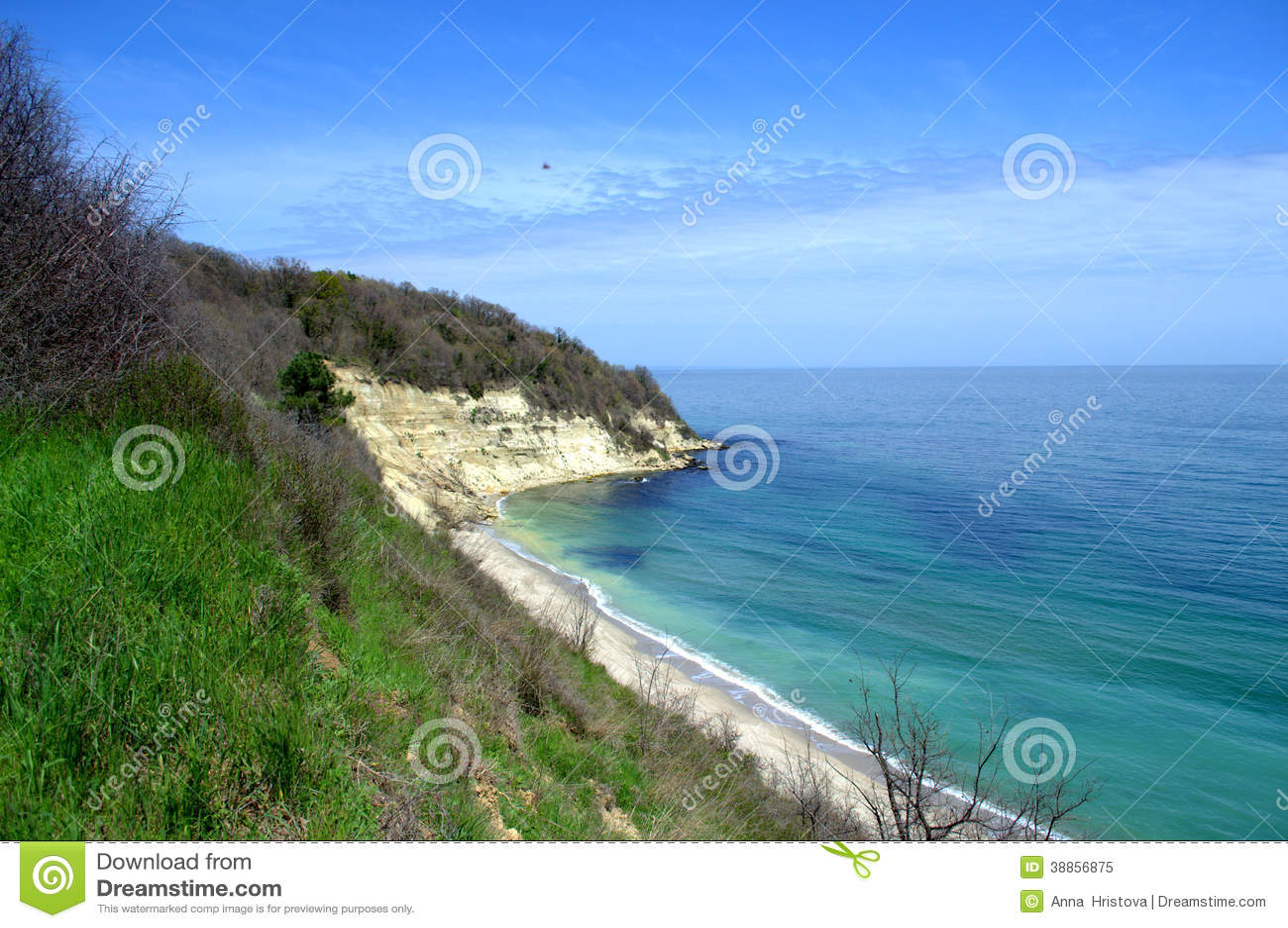 beautiful wild beach view and bright sky stock photo