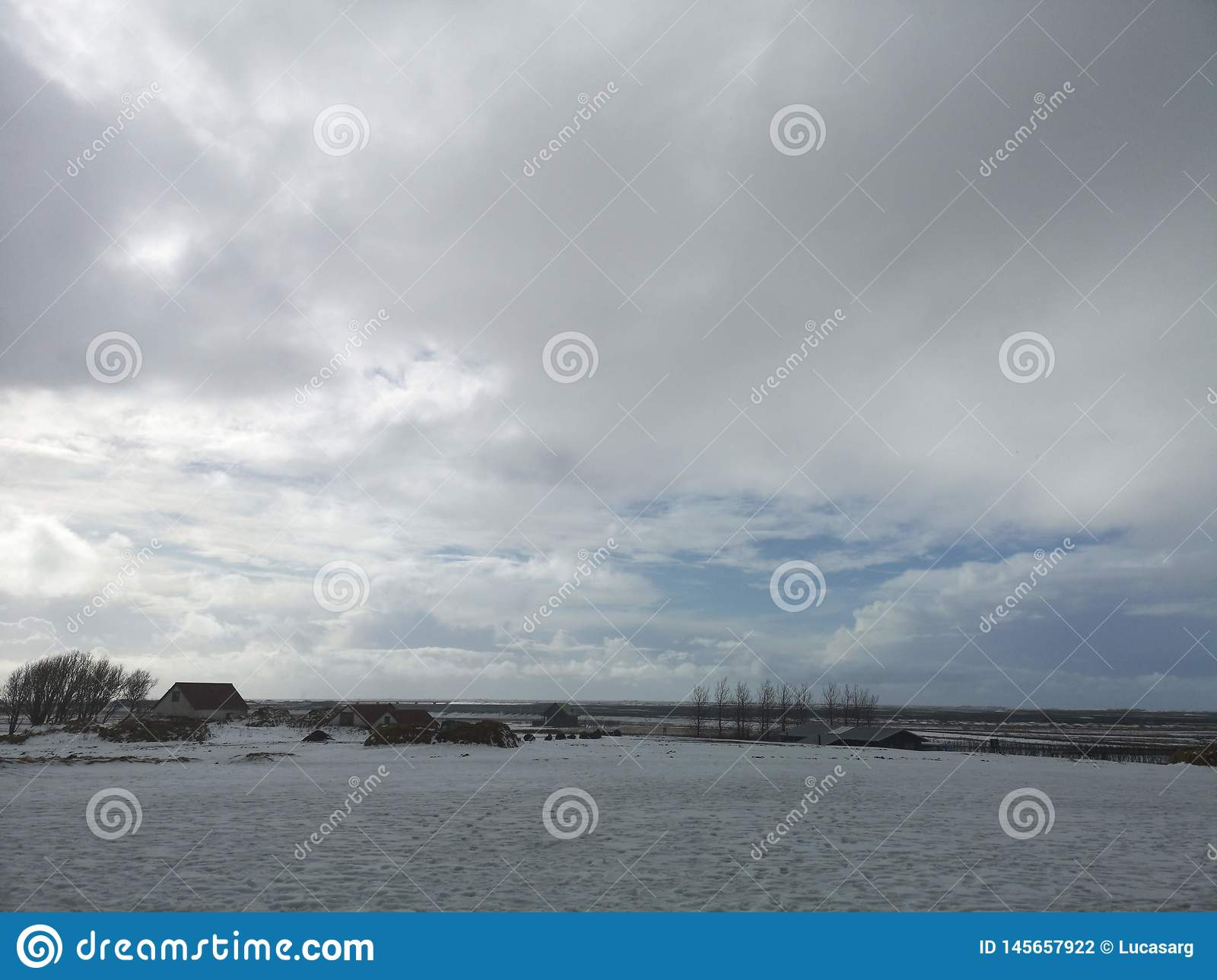 Beautiful View and winter Landscape picture of Iceland in winter. Cold, amazing.