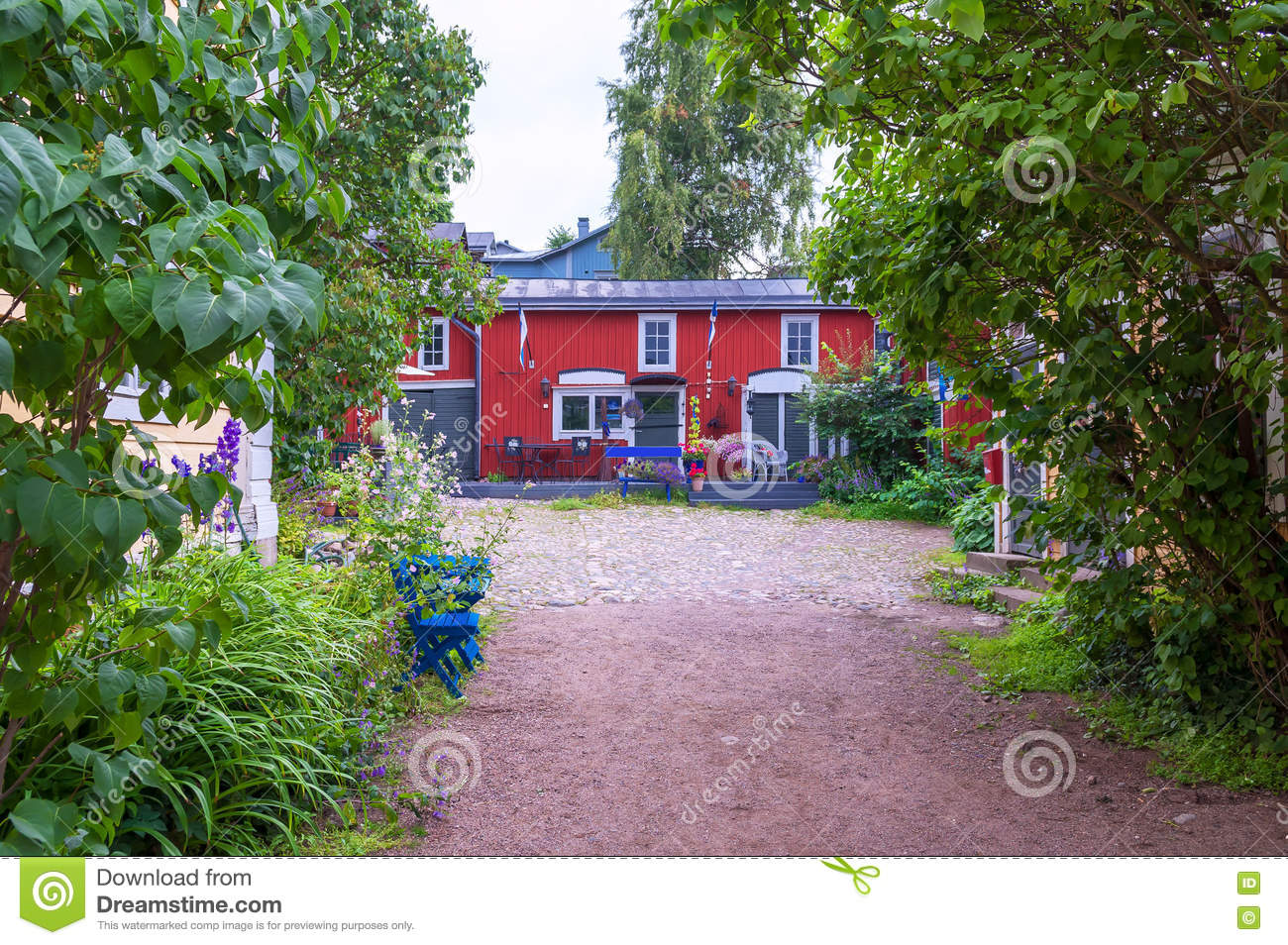 Beautiful Village House With Garden In Finland Royalty