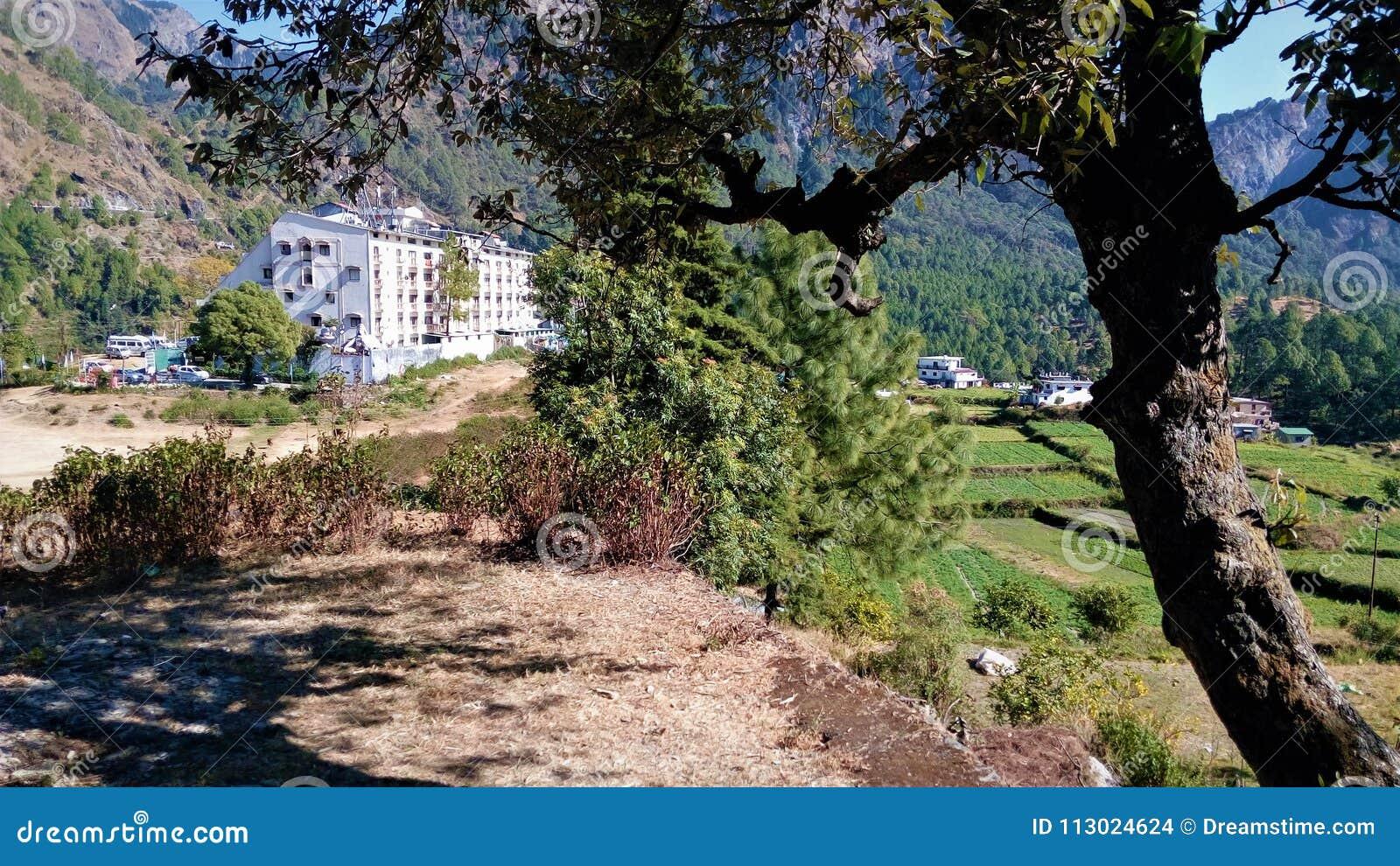 Beautiful Village Scene And Mountain Stock Photo Image Of Village