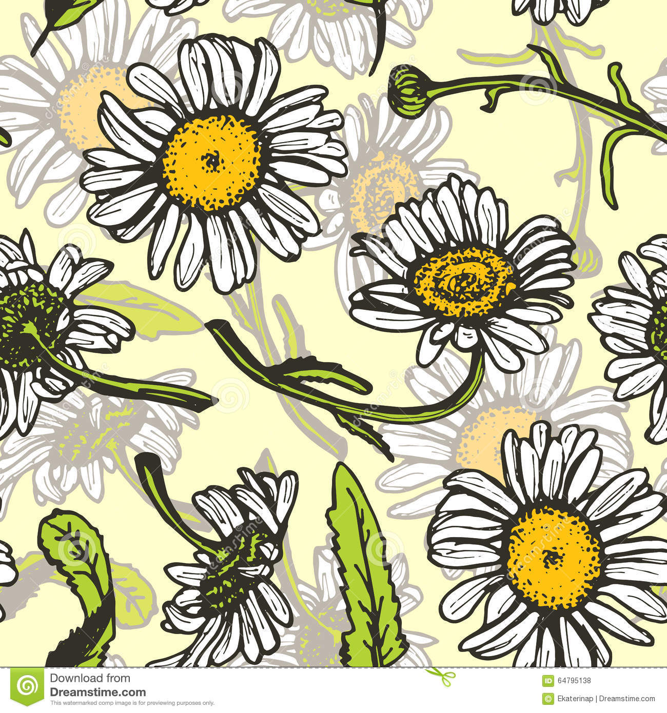 Vintage daisies background