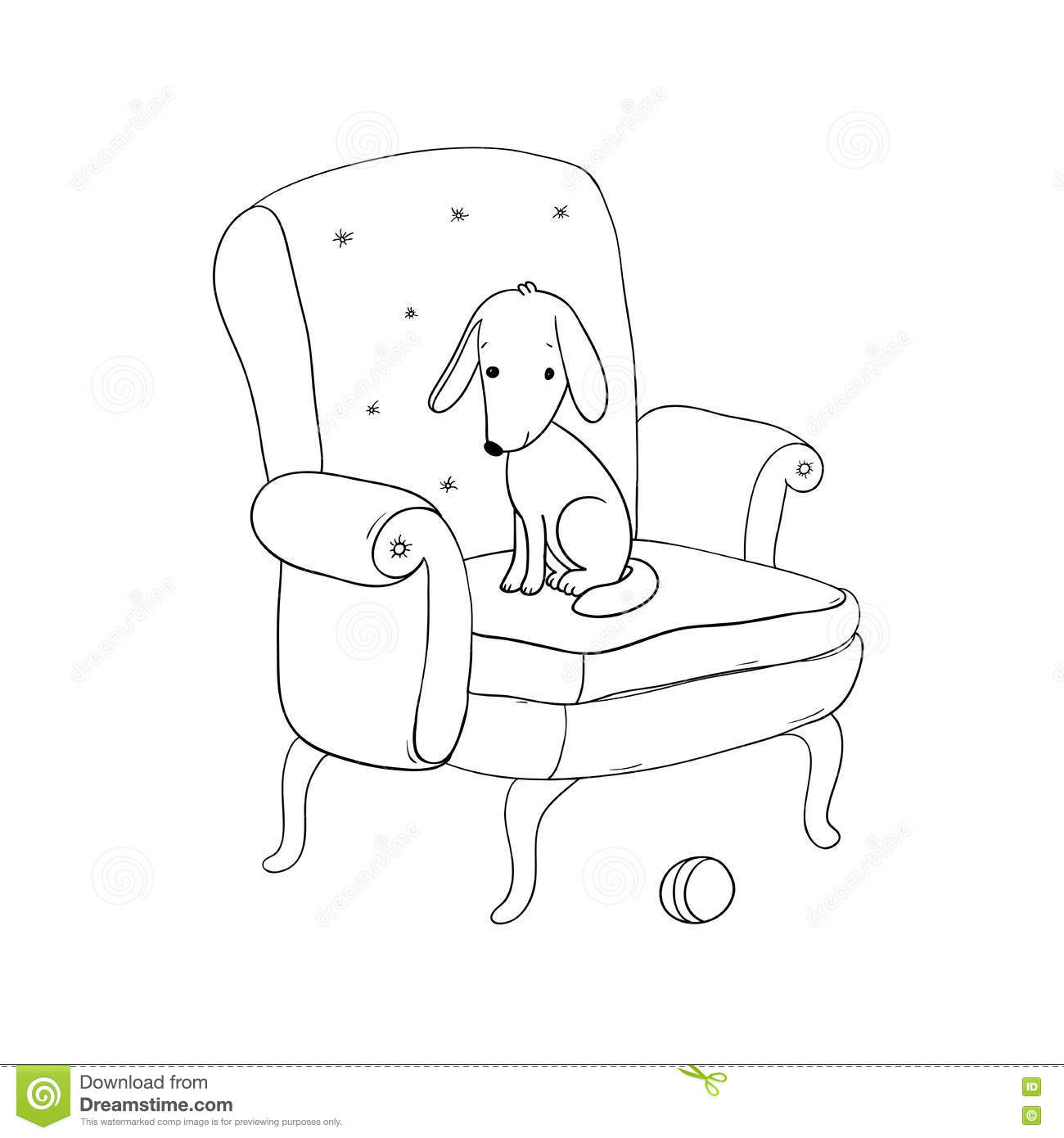 Beautiful Vintage Chair Cute Dog And A Ball Stock Vector