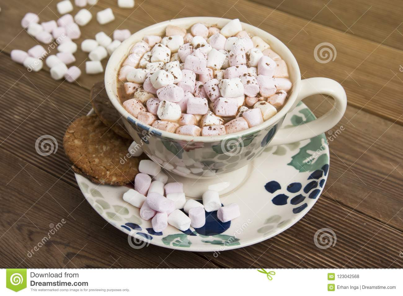 Beautiful Vintage Cup Of Homemade Hot Chocolate Or Cocoa With