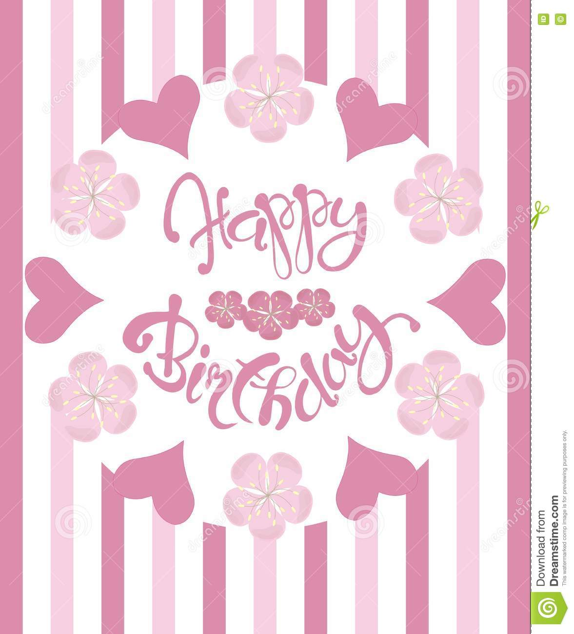 Beautiful Vintage Floral Happy Birthday Congratulation Card Hand Draw Pink Flowers And Hearts Lettering
