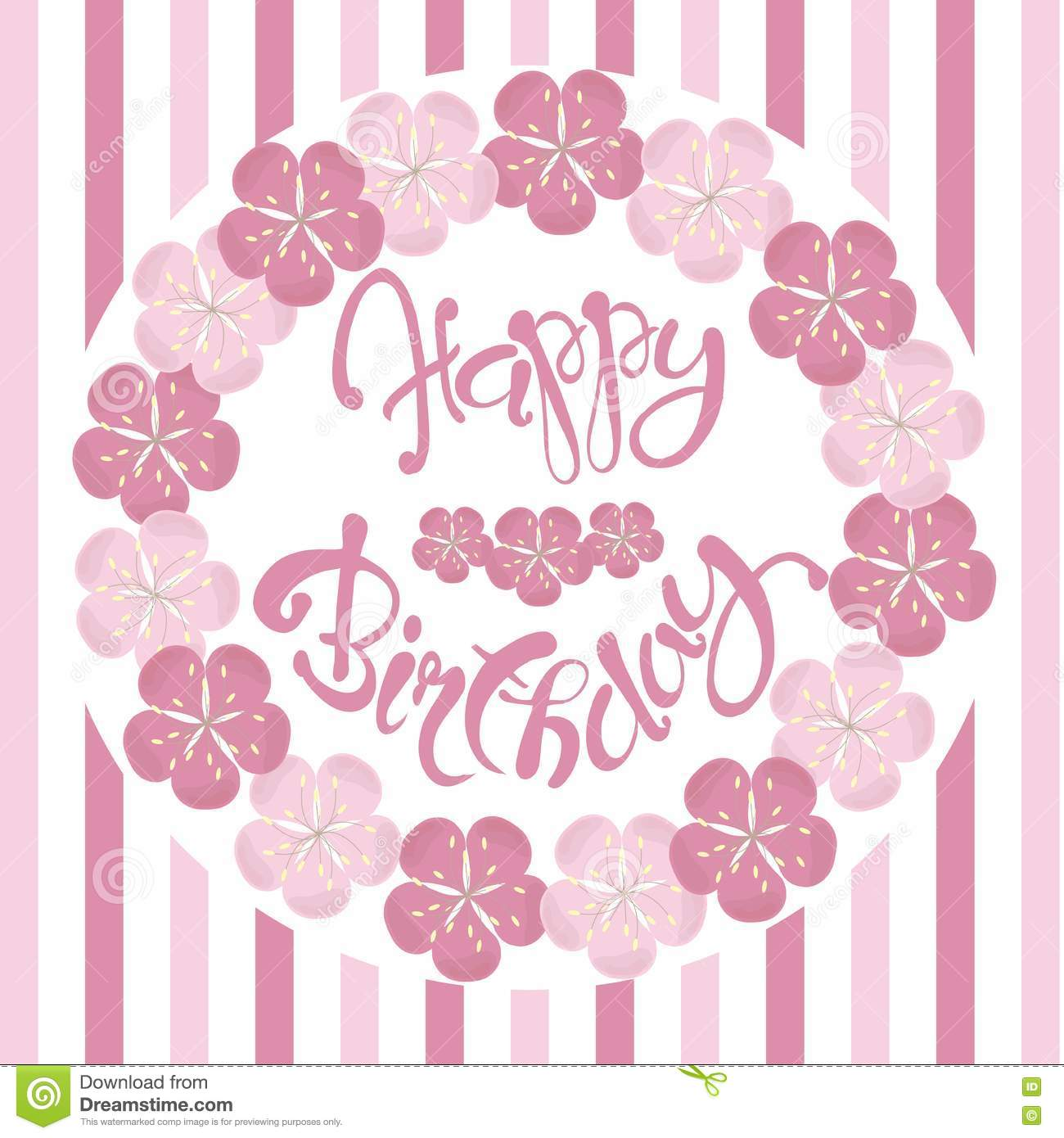 Beautiful Vintage Floral Happy Birthday Invitation Card Hand Draw Pink Flowers Lettering Vector