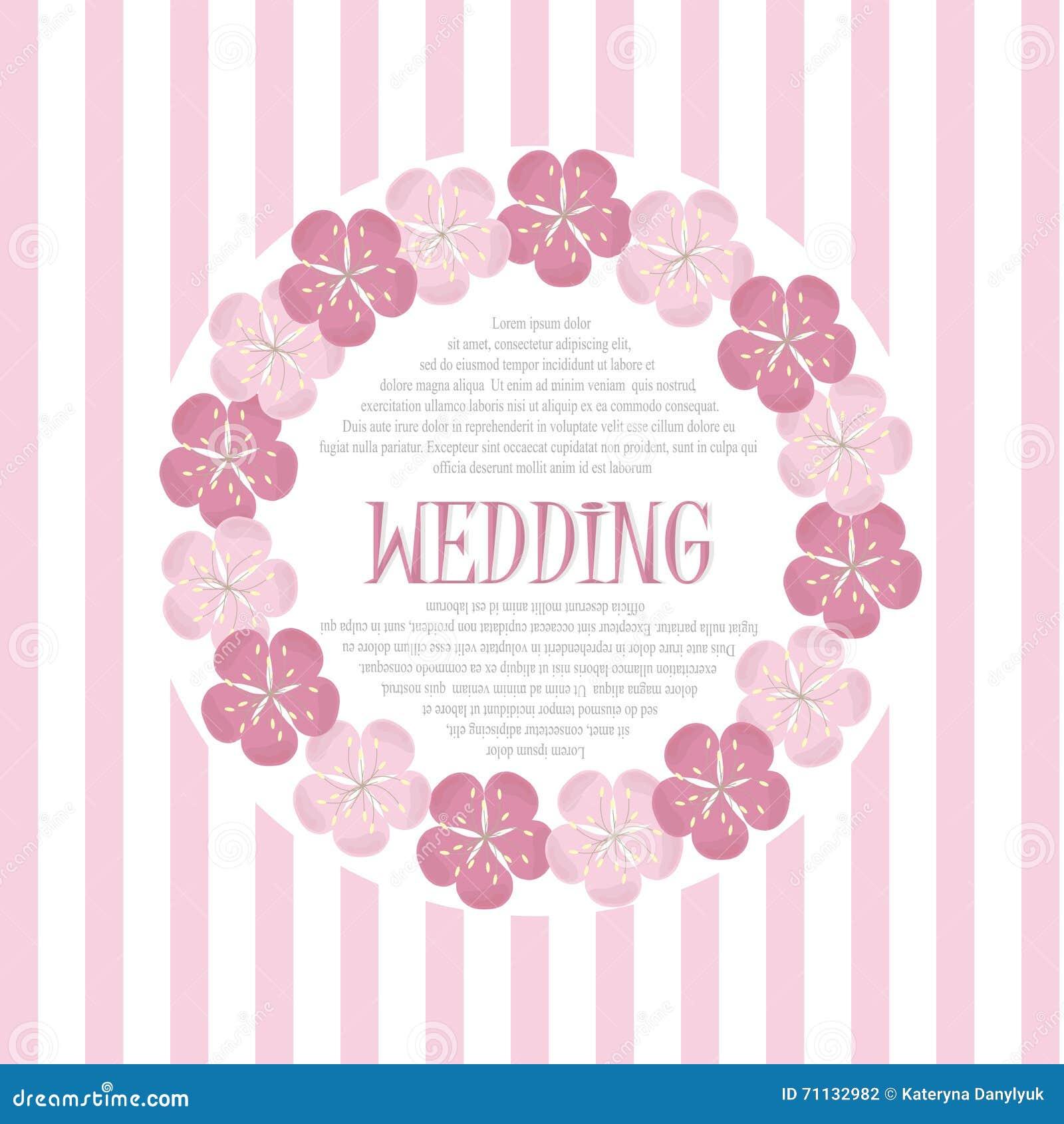 Download Pink Flower Wedding Vector Invitation Flowers: Beautiful Vintage Floral Wedding Invitation Card, Hand