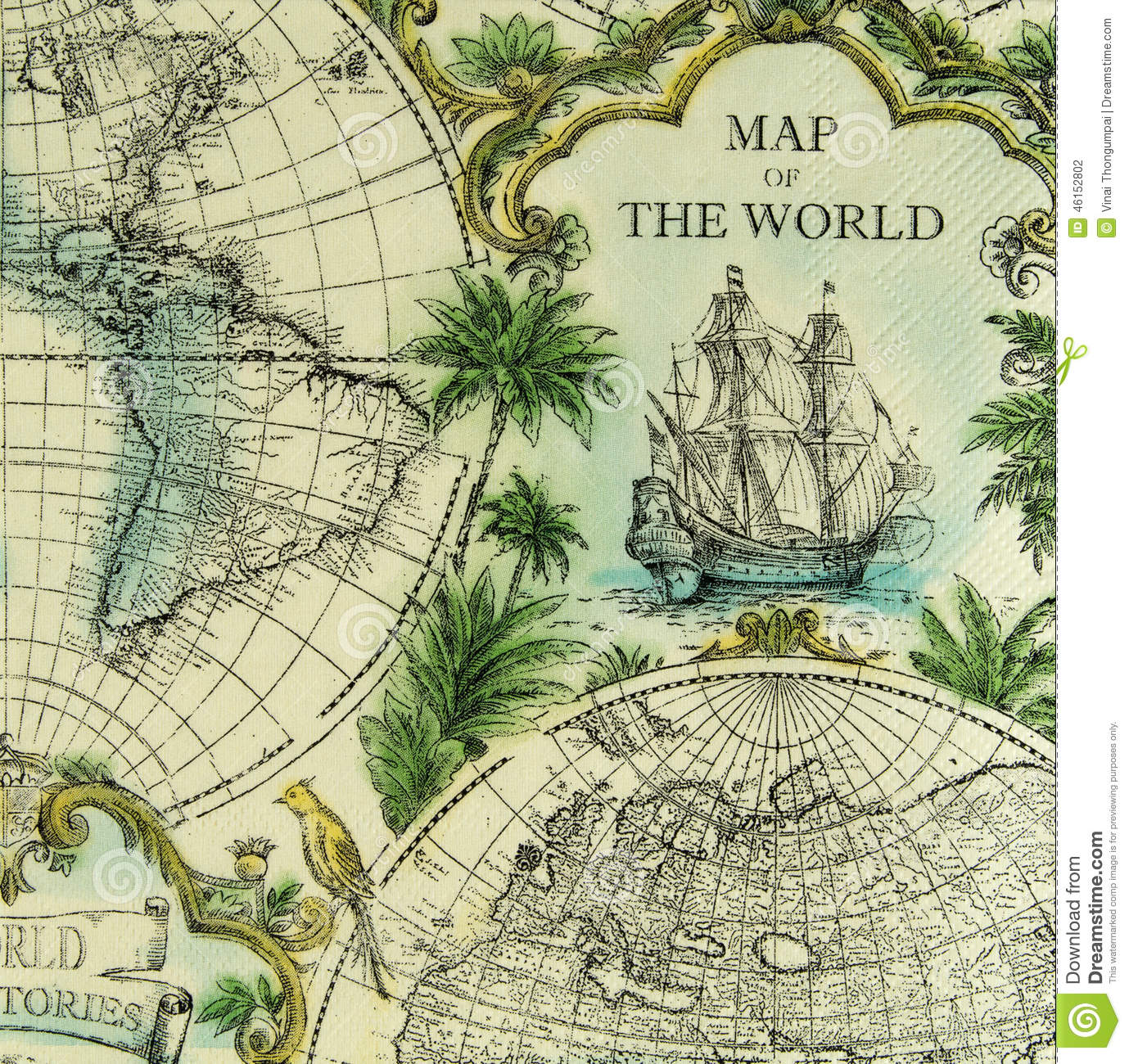 Beautiful Map Of The World.Beautiful Vintage Map Of The World Pattern On Napkin Stock Photo