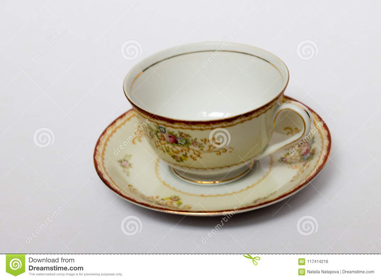 A Porcelain Cup In A Saucer Stock Photo - Image of