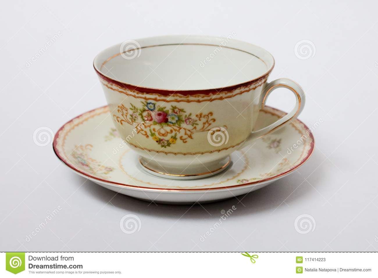 A Porcelain Cup In A Saucer Stock Image - Image of china, floral