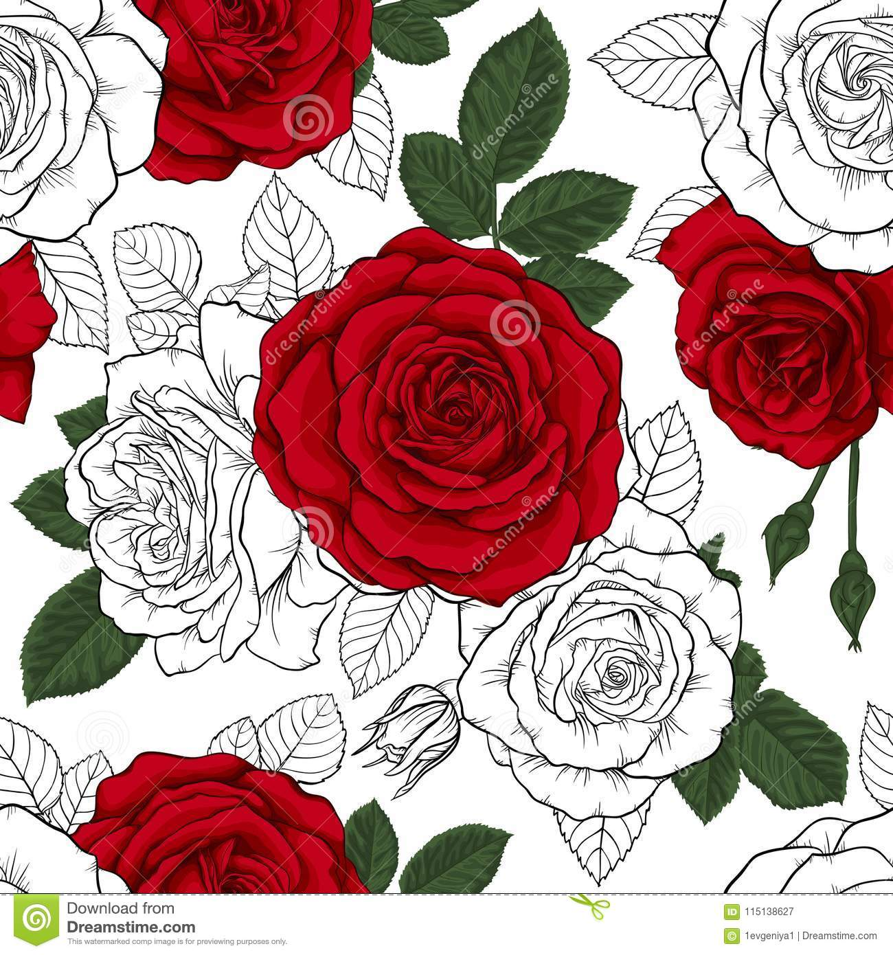Beautiful Vintage Seamless Pattern With Red Black And White Roses