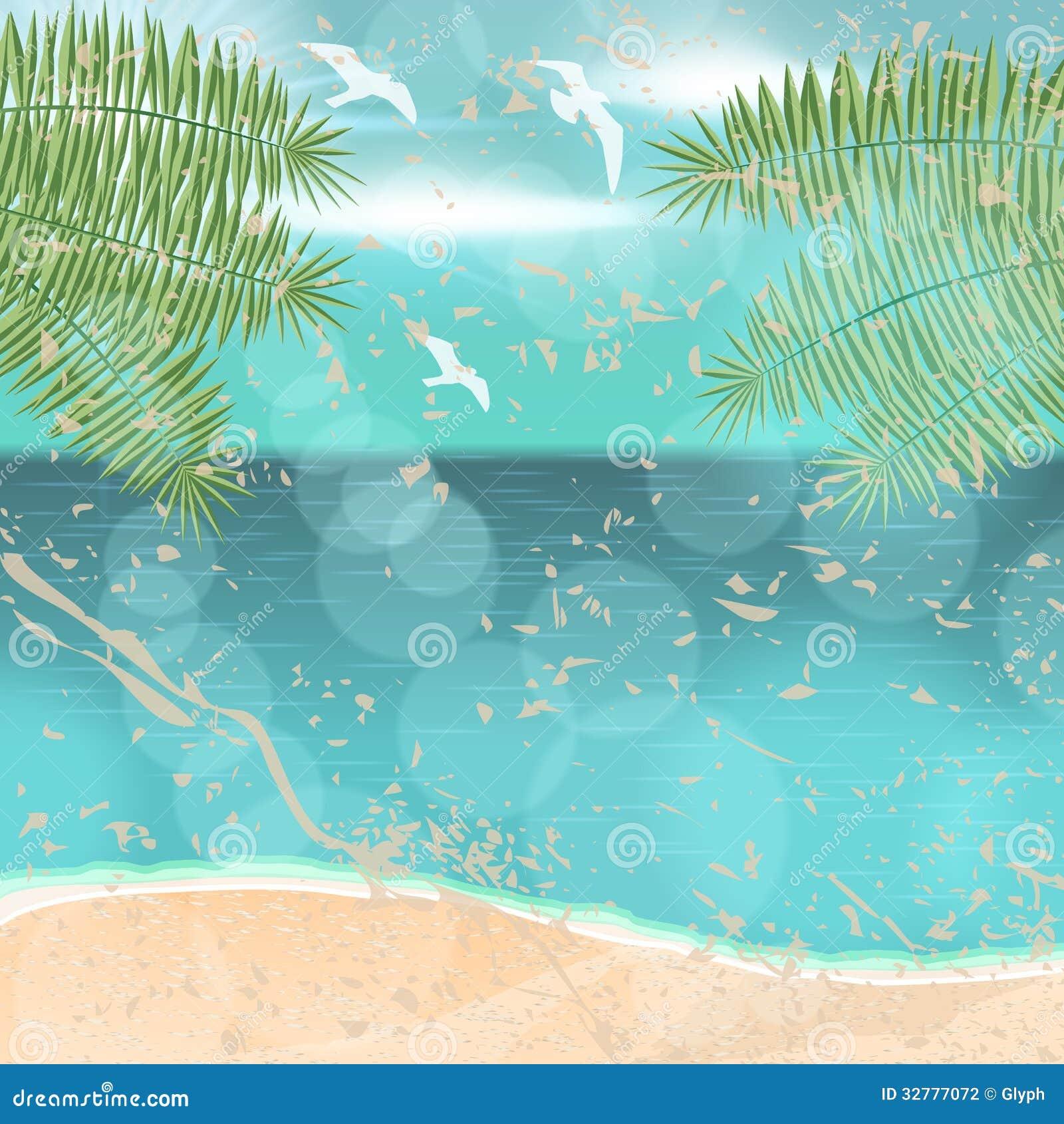 Retro Beach Illustration Royalty Free Stock Photo: Beautiful Vintage Summer Seaside Illustration Stock Vector