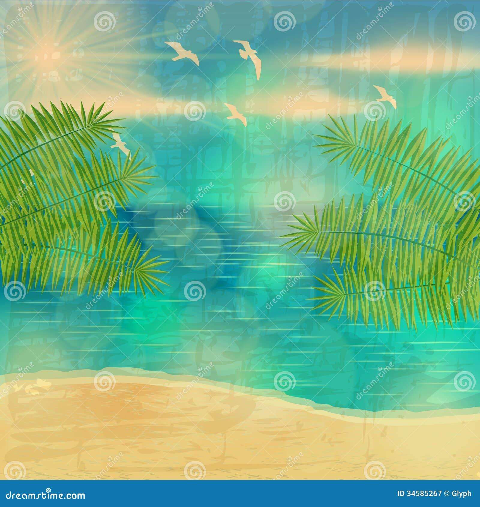 Beautiful Vintage Summer Seaside Illustration Royalty Free ...