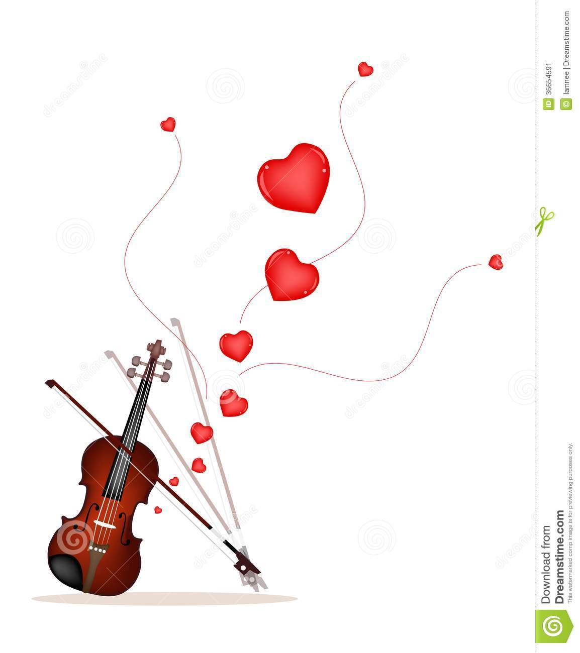 A Beautiful Violin On Playing A Love Music Stock Image
