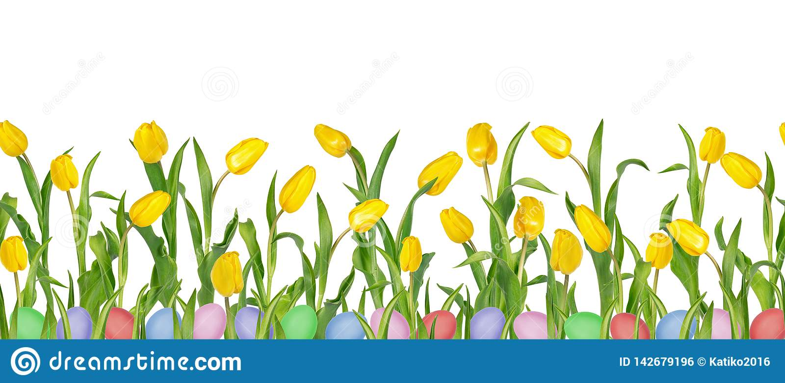 Beautiful vivid yellow tulips on long stems with green leaves and colorful Easter eggs in seamless pattern.
