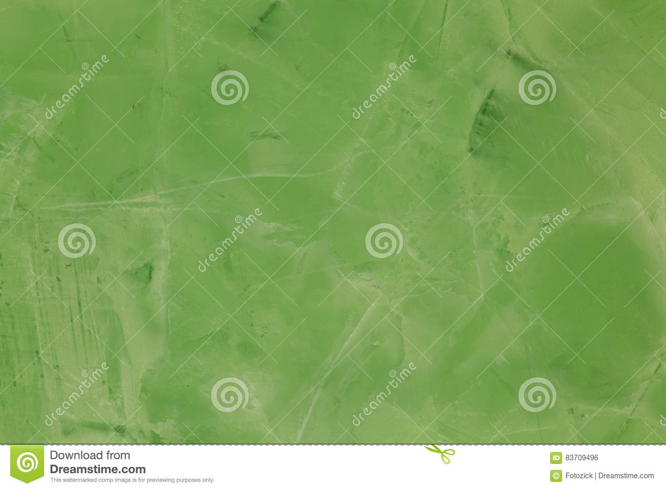 Beautiful Wall With Green Putty Designed. Stock Photo