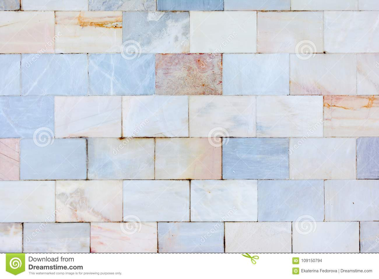 A Beautiful Wall Of Marble Tiles. The Texture Of The Stone. Unusual ...