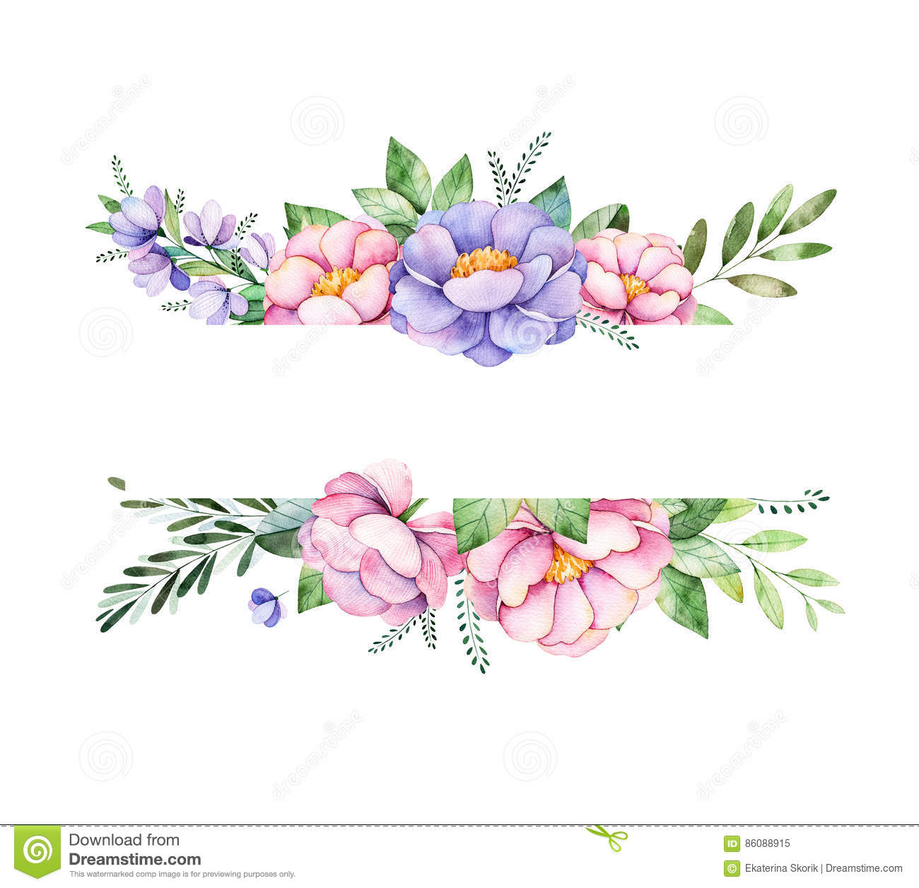 Beautiful Watercolor Border Frame With Peony Flower