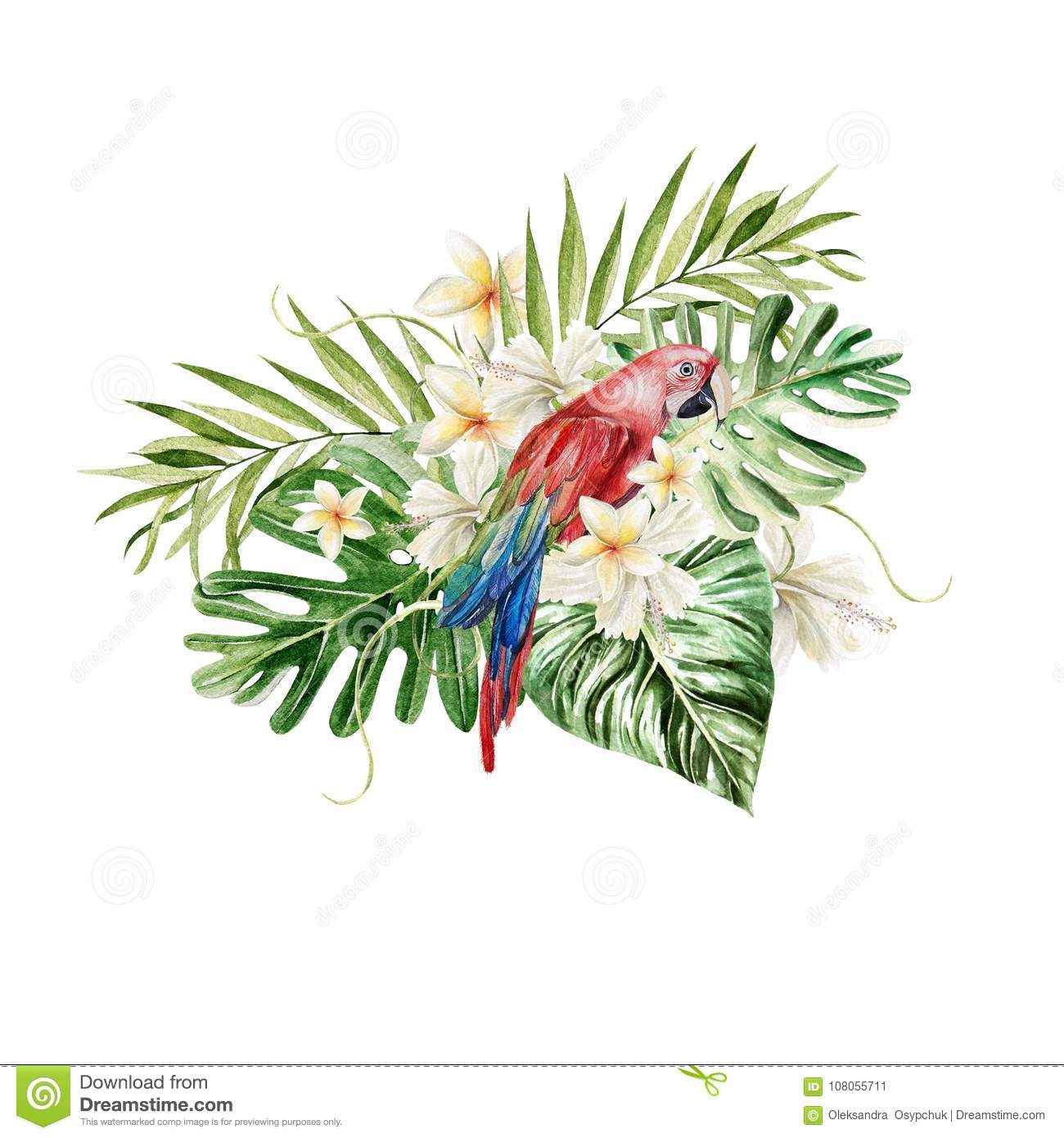 6a51e0ddc A beautiful watercolor bouquet with a parrot and leaves of a palm tree,  flowers.