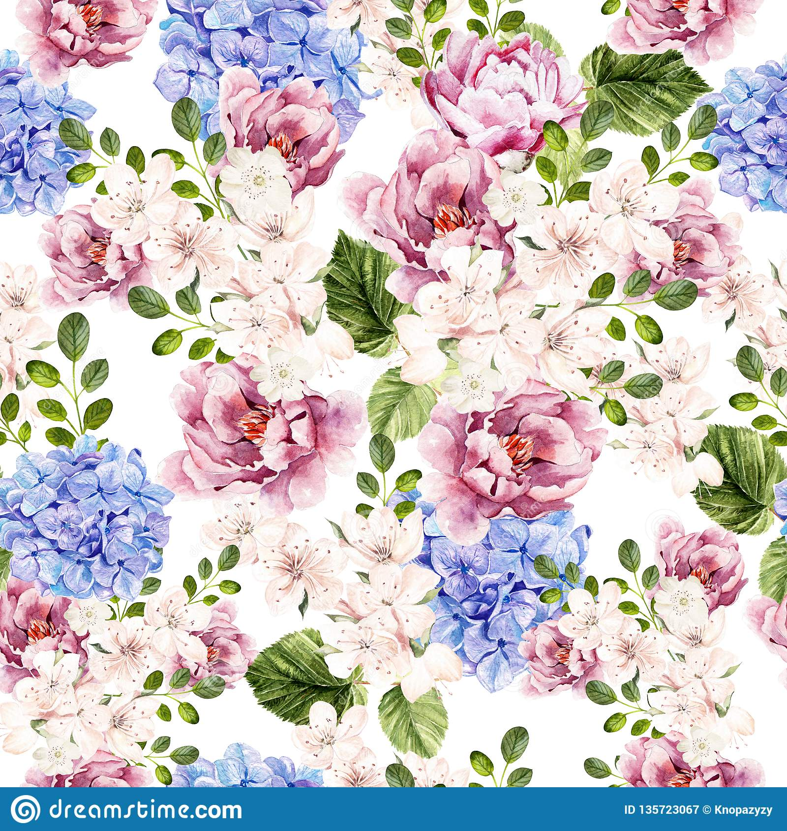 Beautiful watercolor bright pattern with peony, hudrangea and spring flowers.