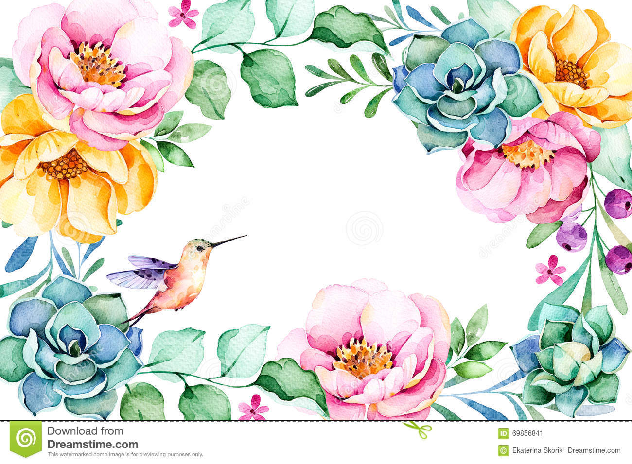 Beautiful Watercolor Frame Border With Roses Flower