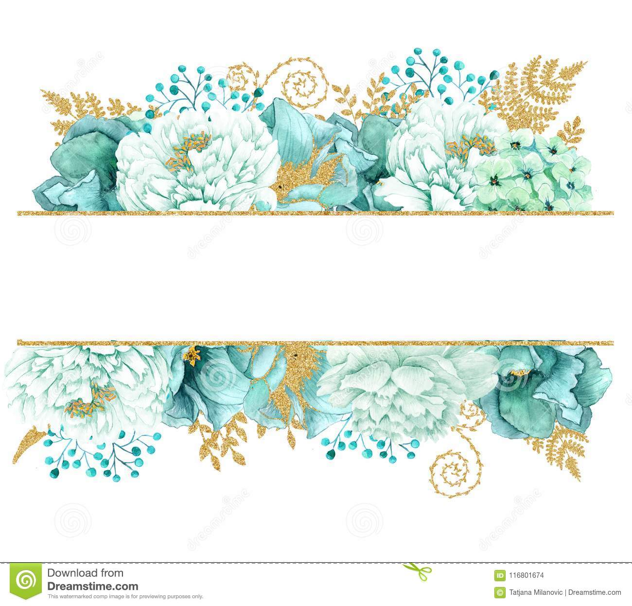 Beautiful Watercolor Mint Flowers Frame Mint Gold Wedding Invites