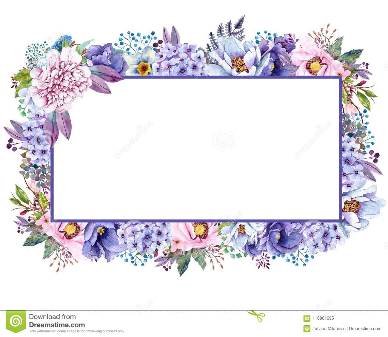 Beautiful Watercolor Mint Flowers Frame. Mint Gold Wedding Invites ...