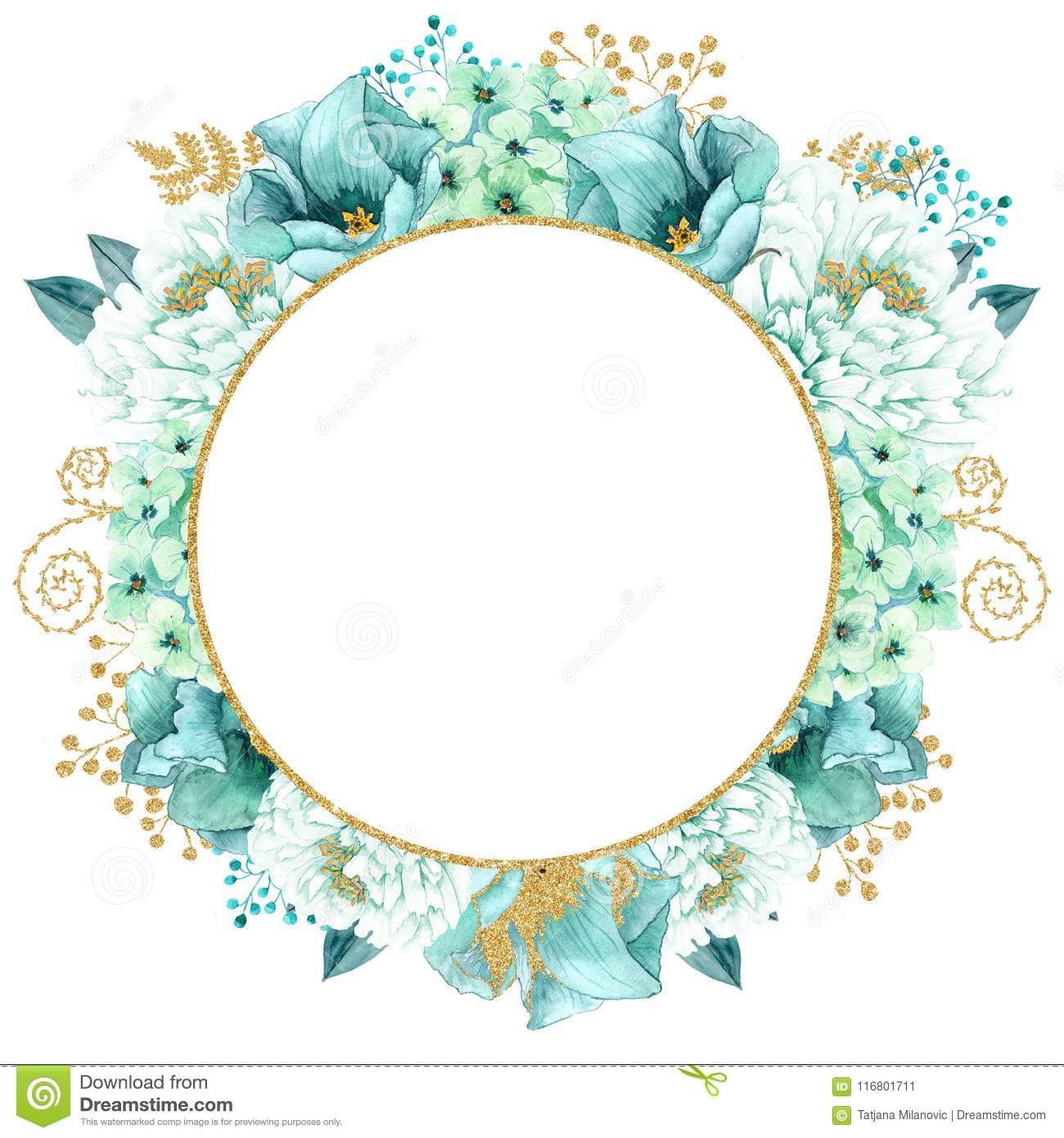 Beautiful Watercolor Mint Flowers Frame Gold Wedding