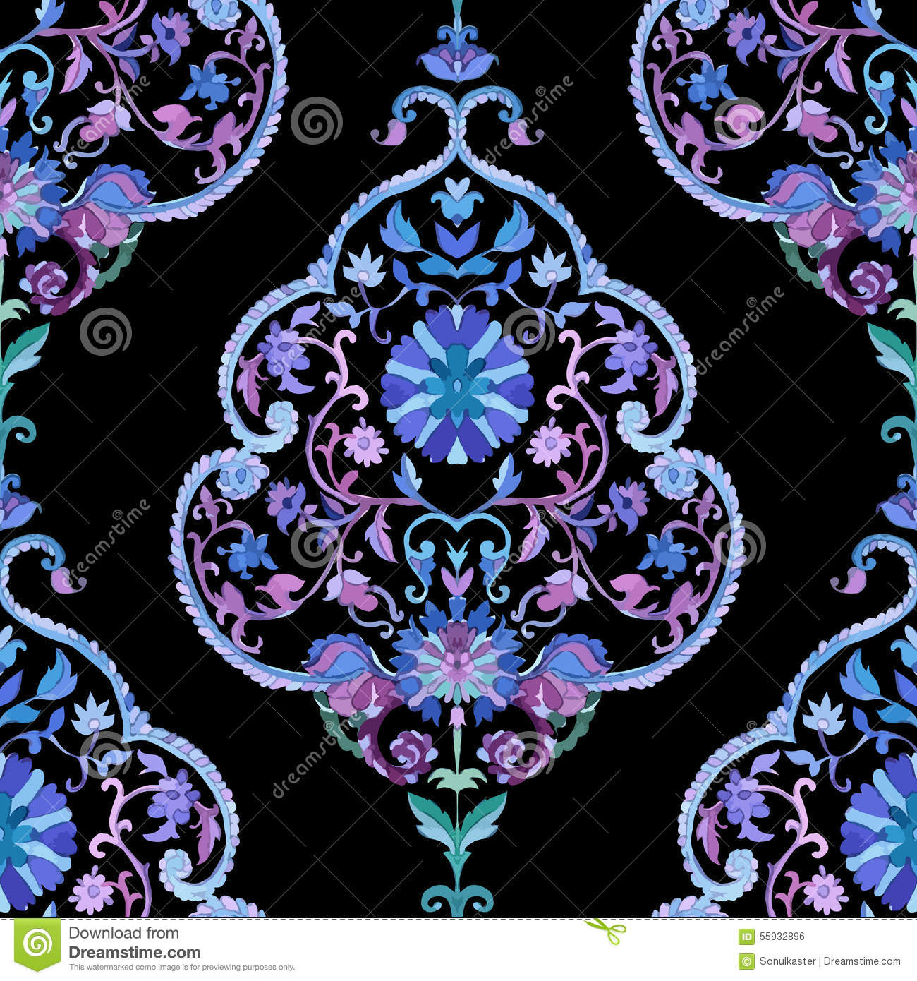 Beautiful Watercolor Paisley Seamless Pattern Stock Vector Image 55932896
