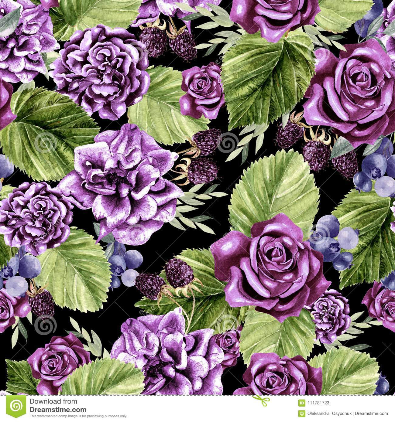 Beautiful watercolor pattern with flowers rose and blackberry, eucalyptus leaves.