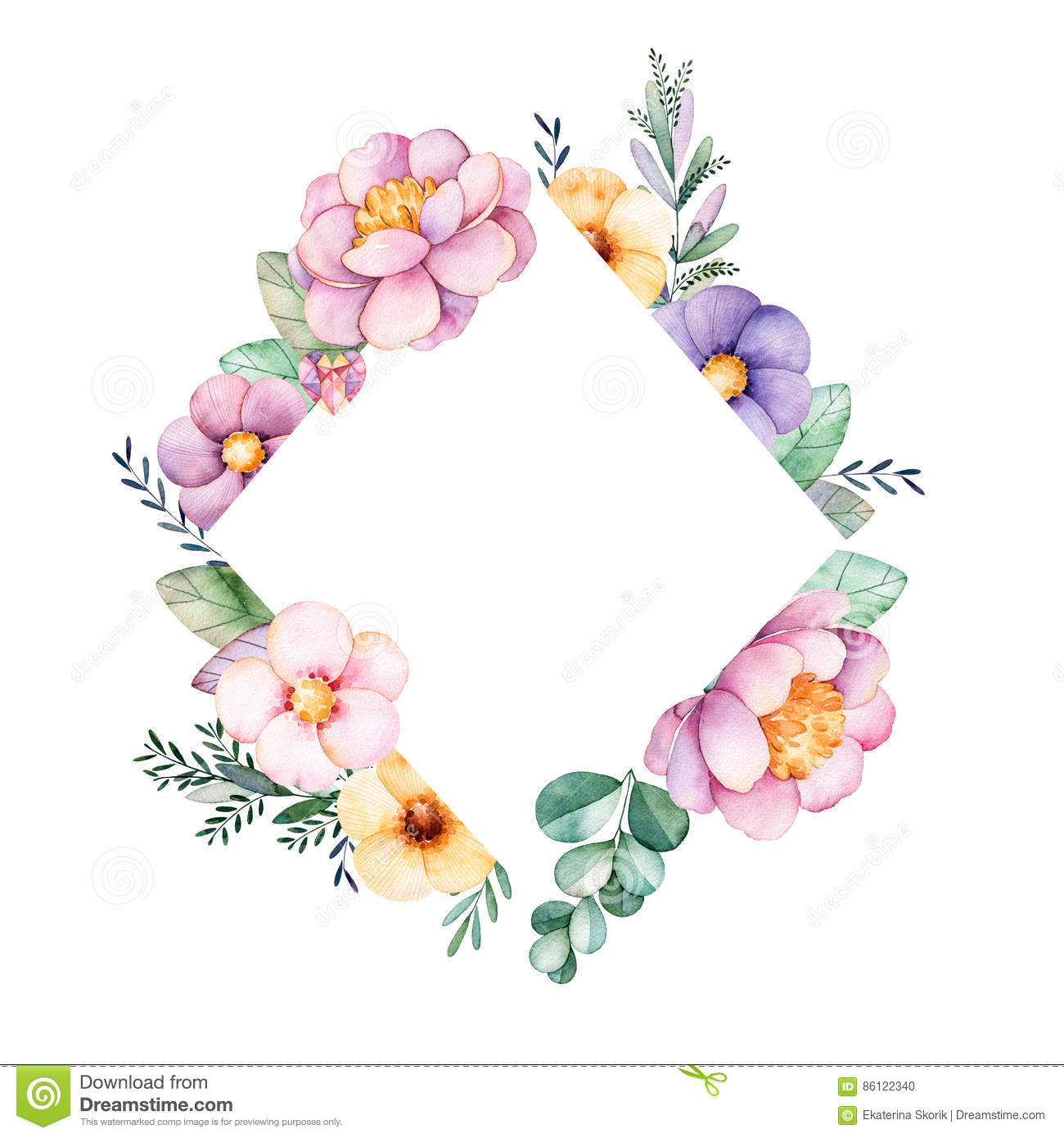 Beautiful Watercolor Rhombus Frame Border With Peony,flower,foliage,branches Stock Illustration ...