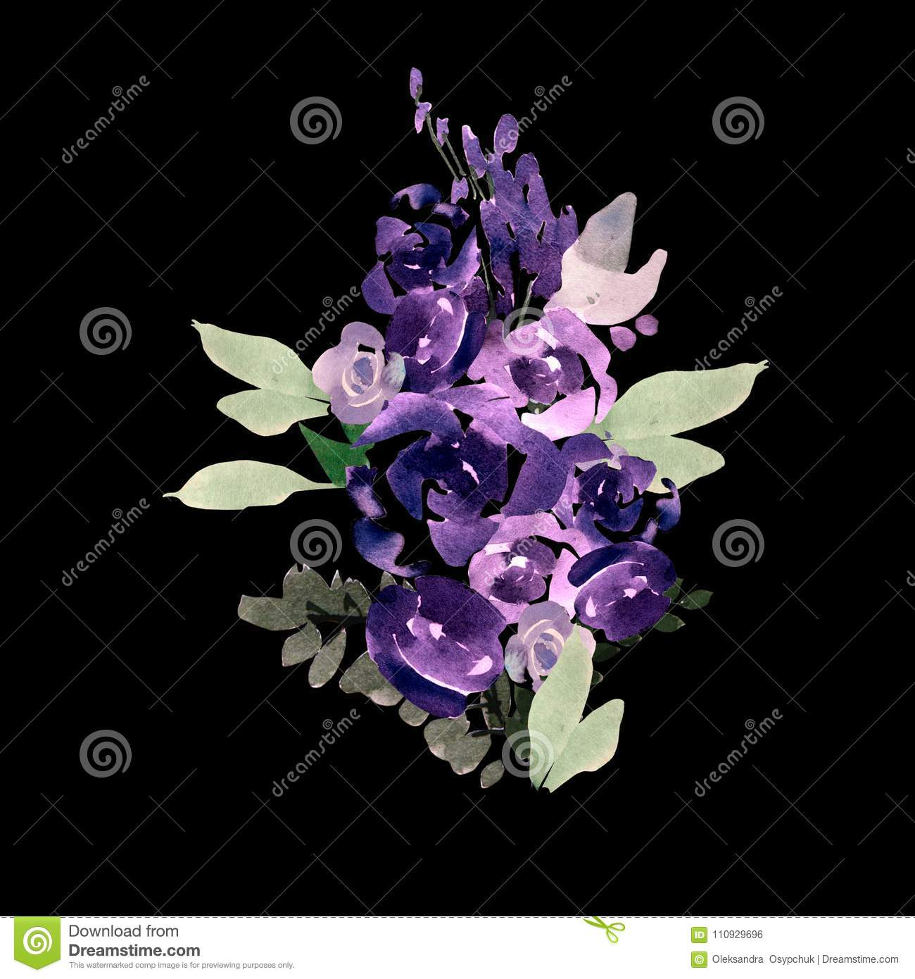 Beautiful Watercolor Wedding Bouquet With Purple Flowers Stock