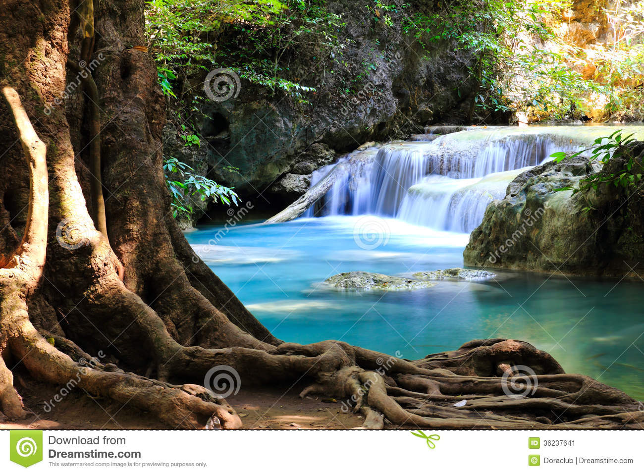Beautiful Waterfall At Erawan National Park Stock Image ...