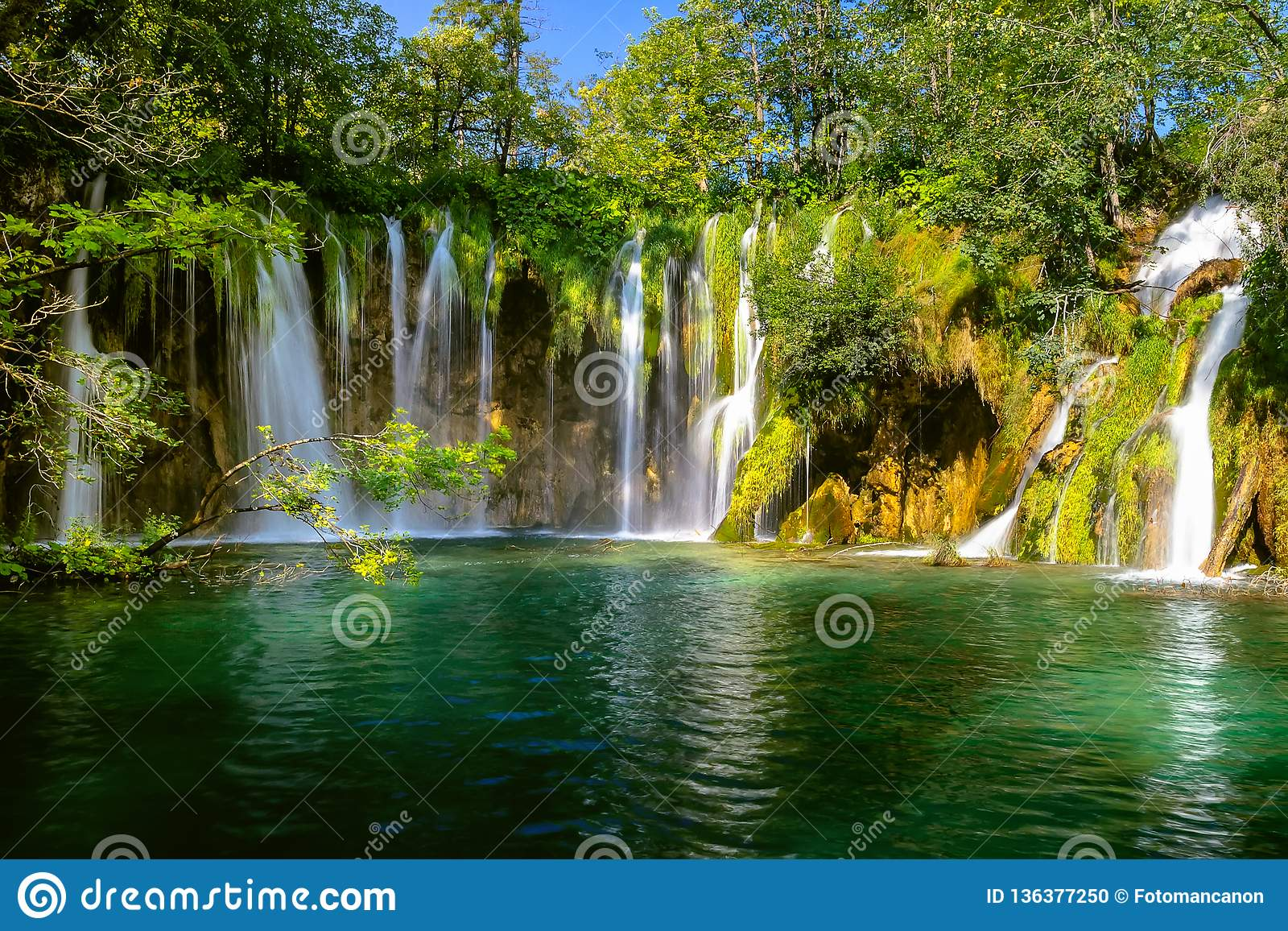 Beautiful Waterfall In Plitvice Lakes National Park Croatia