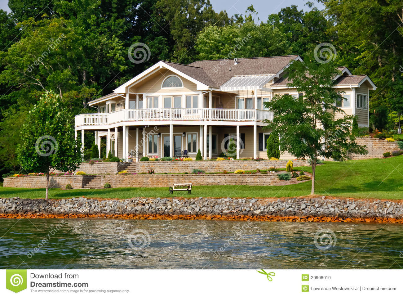 Beautiful waterfront home smith mountain lake stock photo for Lake house photos gallery