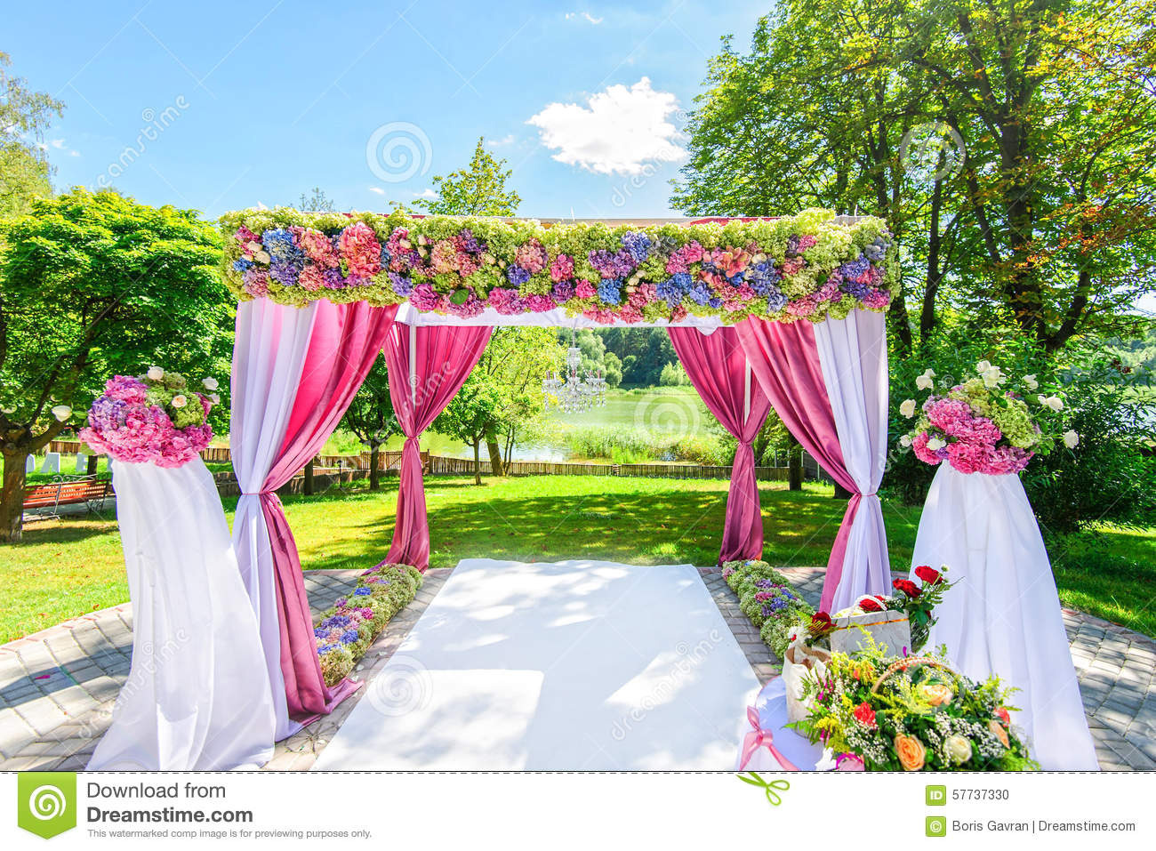 Beautiful wedding arch with flowers in garden stock photo image royalty free stock photo dhlflorist Image collections