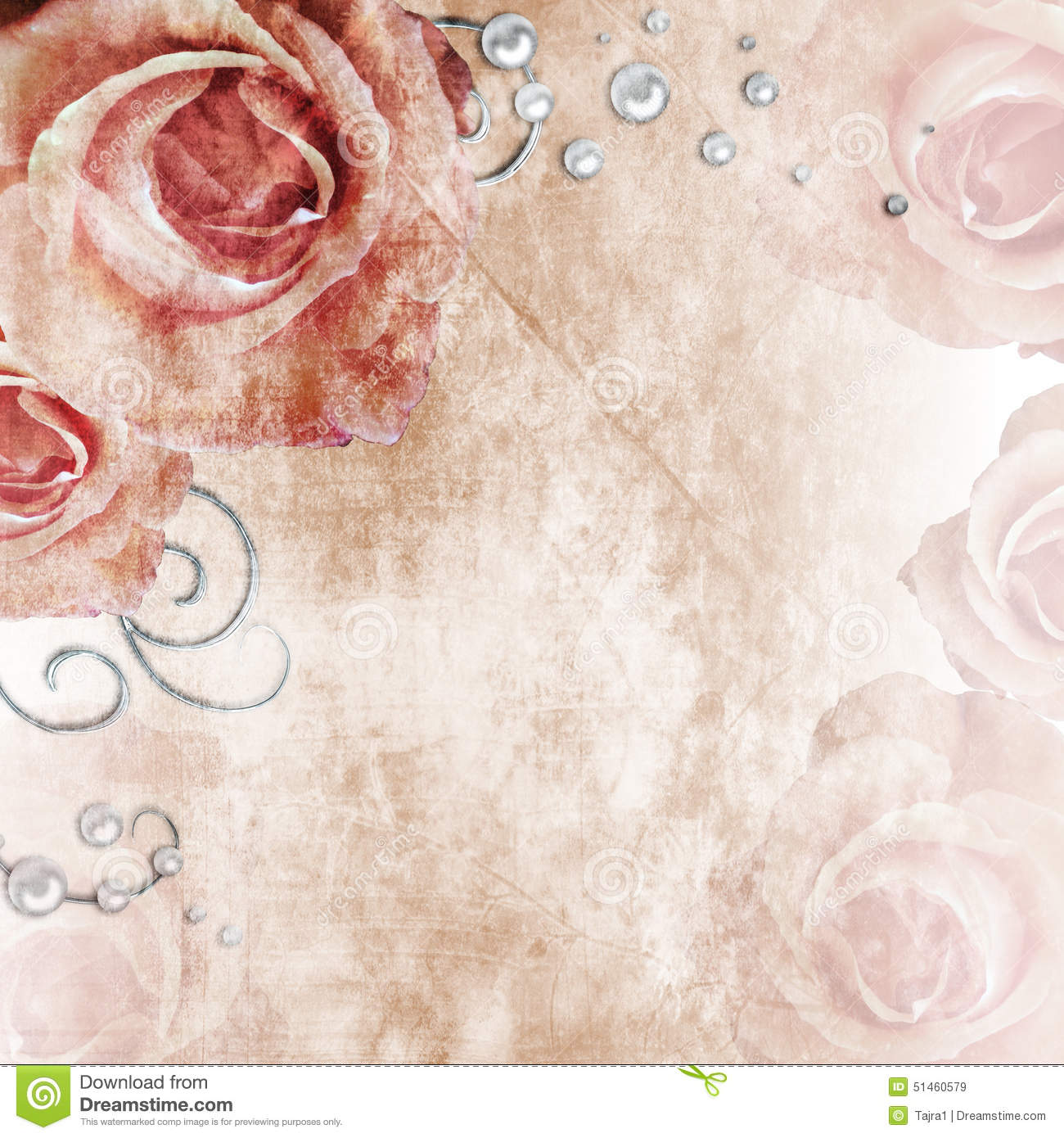 Beautiful Wedding Background With Roses And Pearls Stock ...