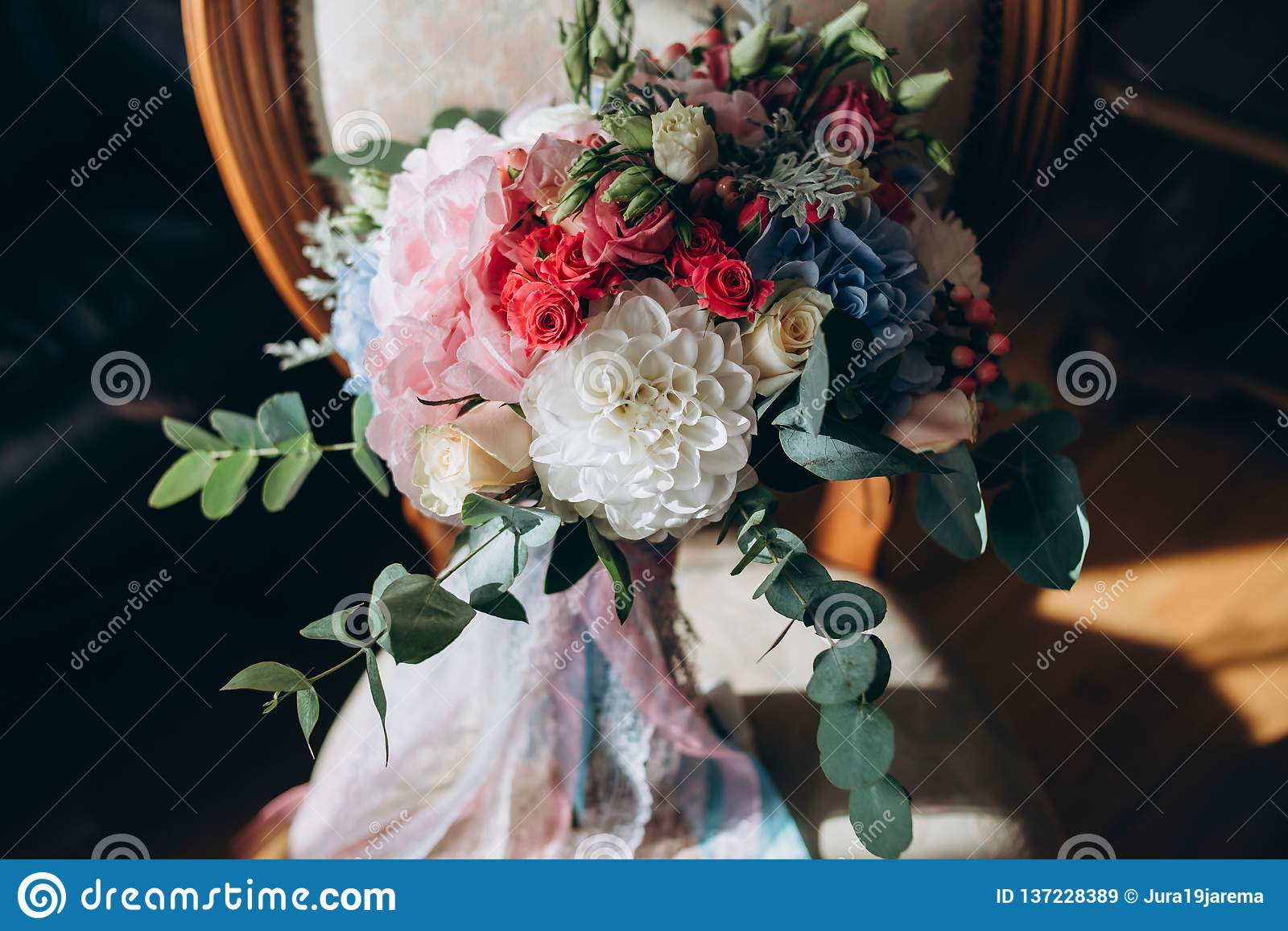 A Beautiful Wedding Bouquet From Blue Red White And Pink Flowers For The Bride Stock Image Image Of Decor Beauty 137228389