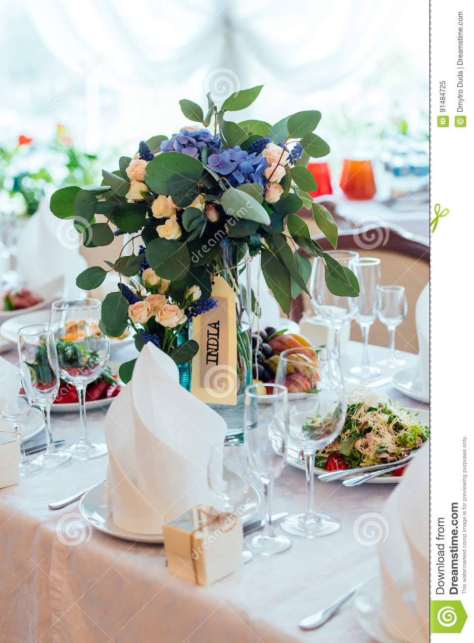 Beautiful Wedding Bouquet Of Cream Roses, Blue Flowers And ...