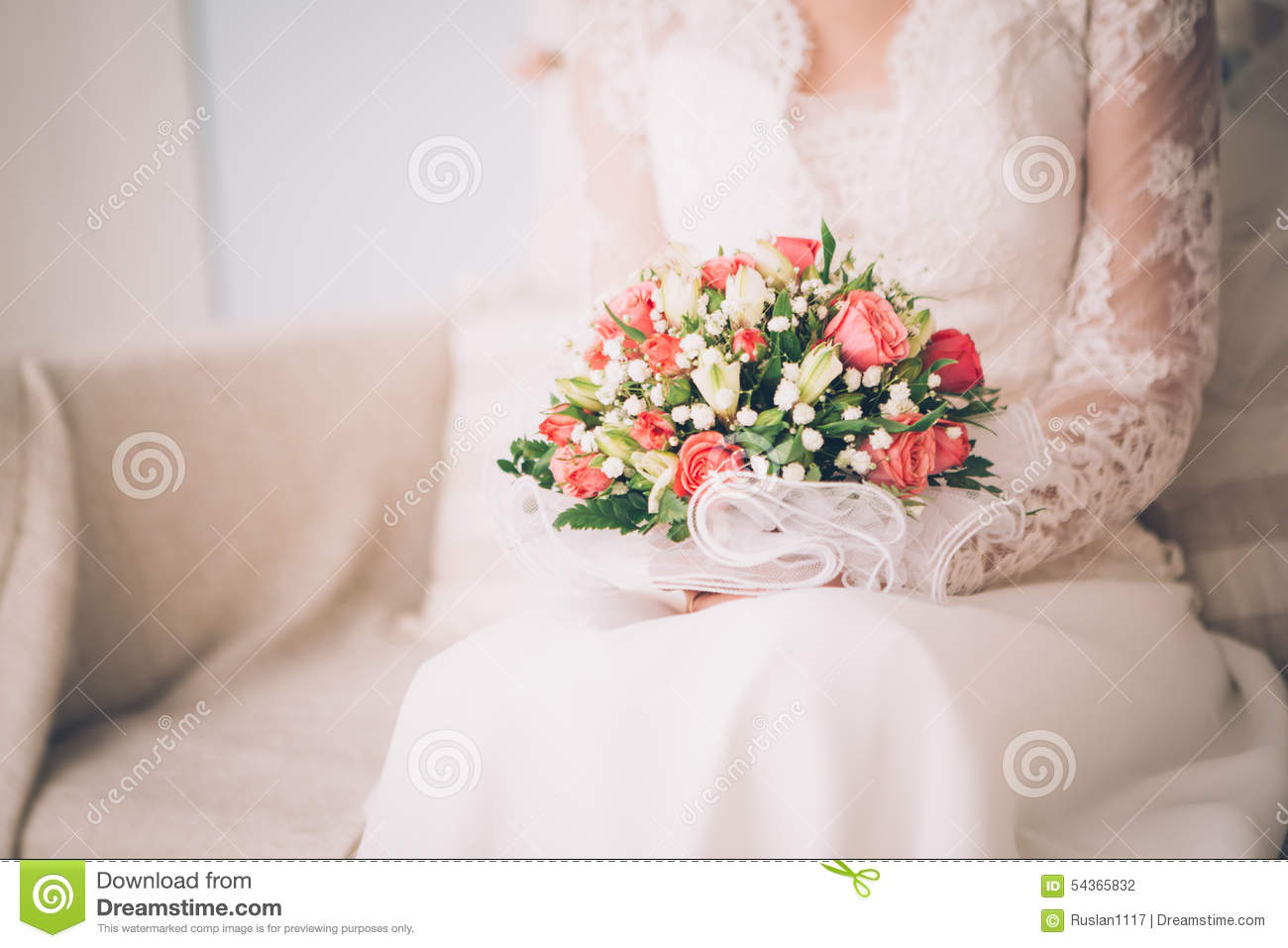 beautiful wedding bouquet in the hands of the bride royalty free stock photo. Black Bedroom Furniture Sets. Home Design Ideas