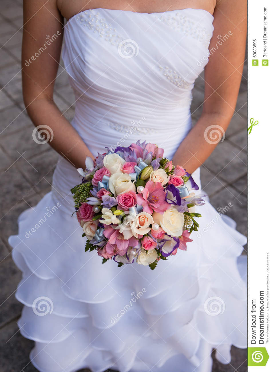 Beautiful Wedding A Bouquet In Hands Of The Bride Stock Photo