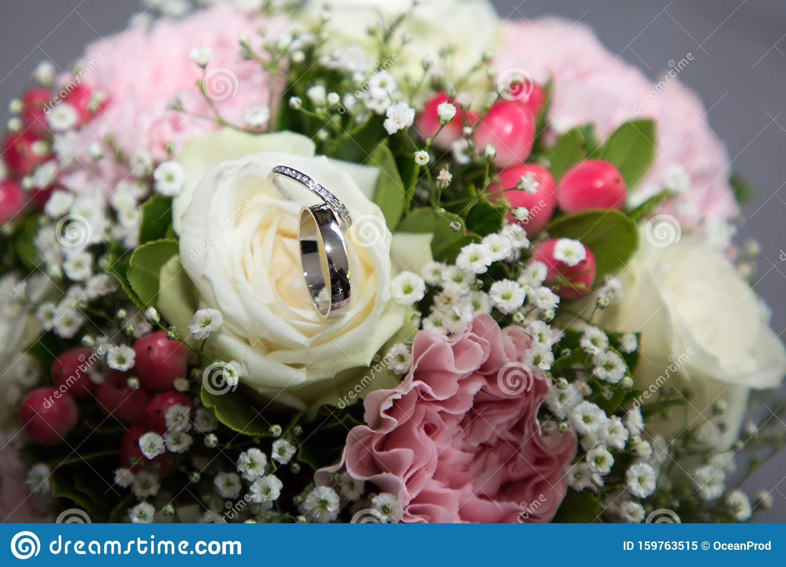 Beautiful Wedding Bouquet Of Pink And White Flowers With Marriage Rings Stock Image Image Of Bridal Romantic 159763515