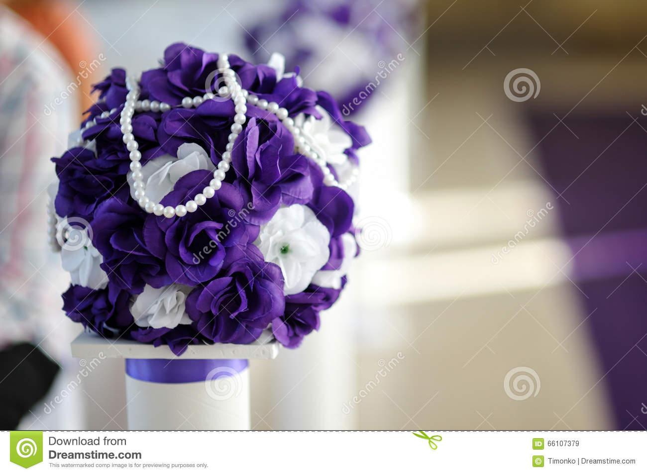 Beautiful Wedding Bouquet Of Purple And White Flowers Stock Image