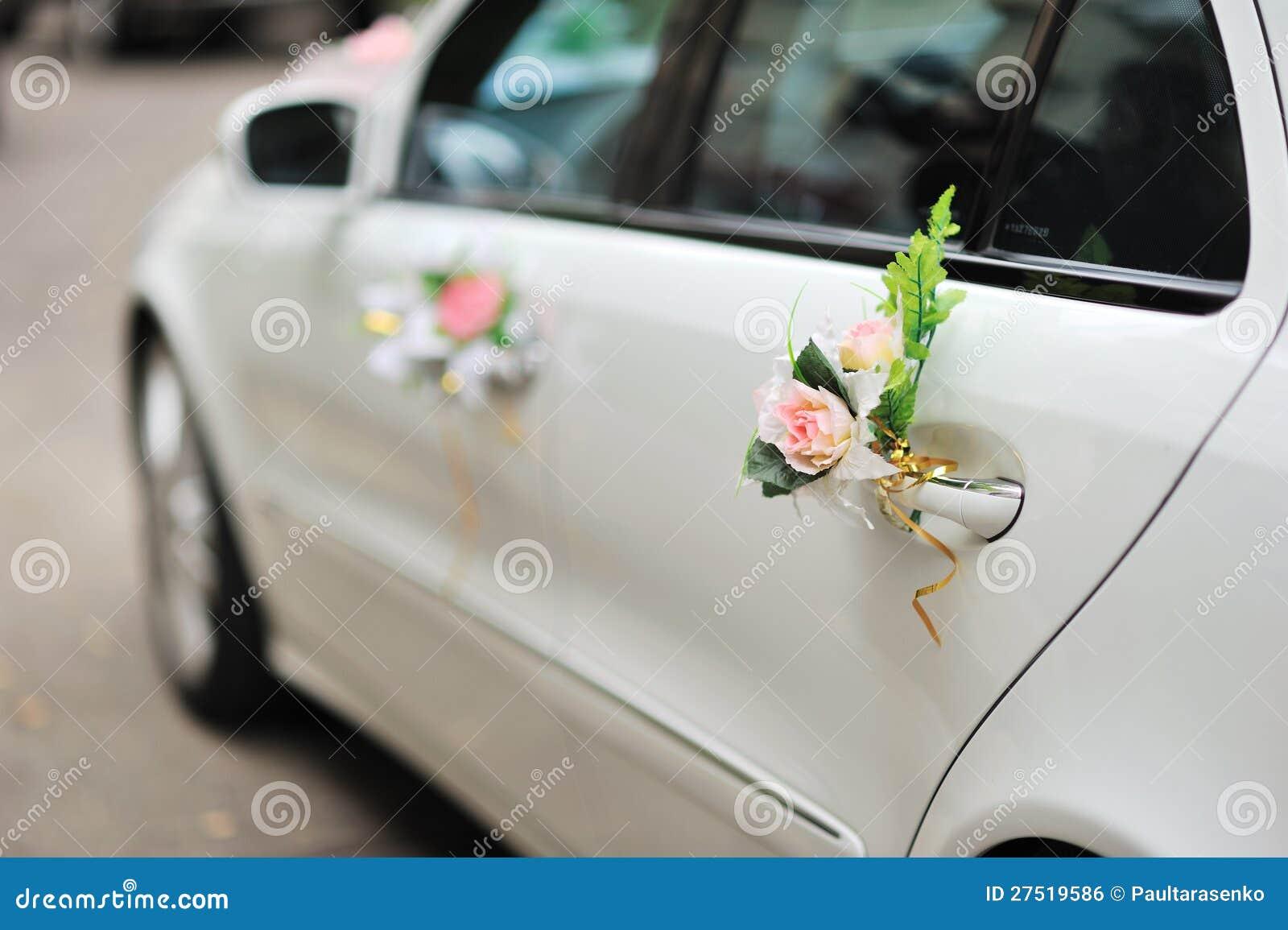 Beautiful Wedding Car Decoration Outdoor Stock Photo , Image