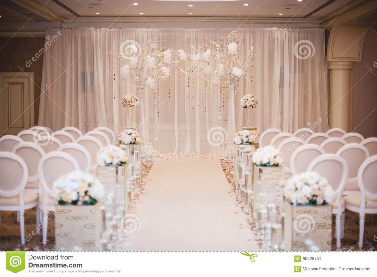Beautiful Wedding Ceremony Design Decoration Elements With Arch Floral Design Flowers Chairs