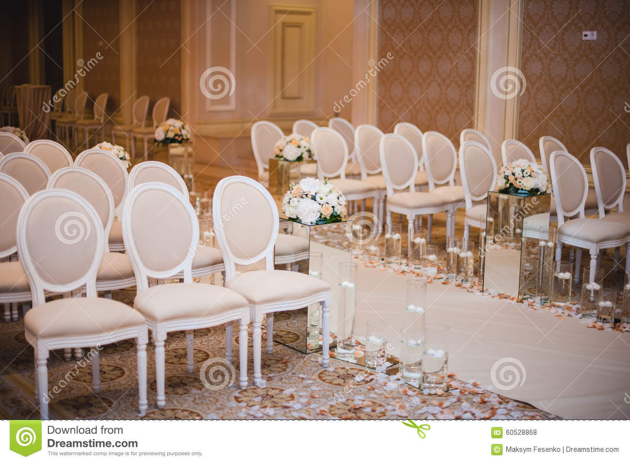 Wedding ceremony chair - Beautiful Wedding Ceremony Design Decoration Elements With Arch Floral Design Flowers Chairs