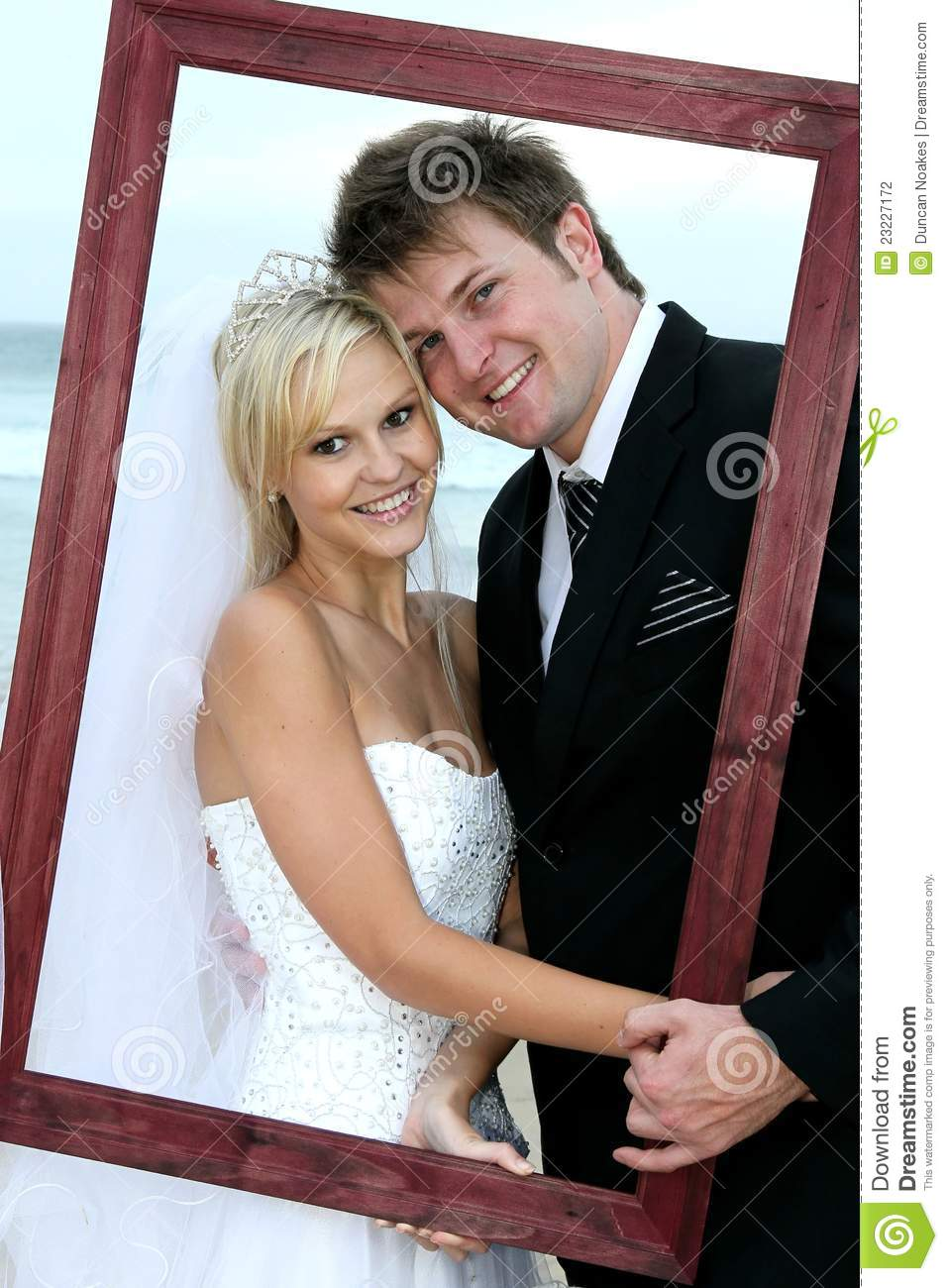 Beautiful Wedding Couple With Frame Stock Photography ...