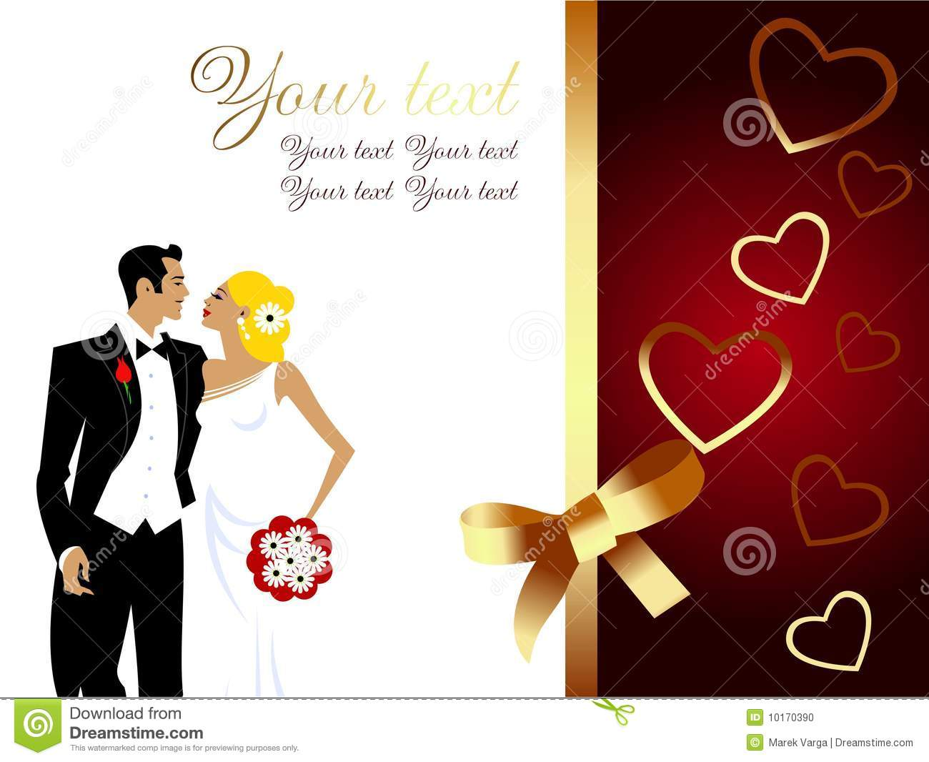 Beautiful Wedding Couple Greeting Card Stock Vector Illustration