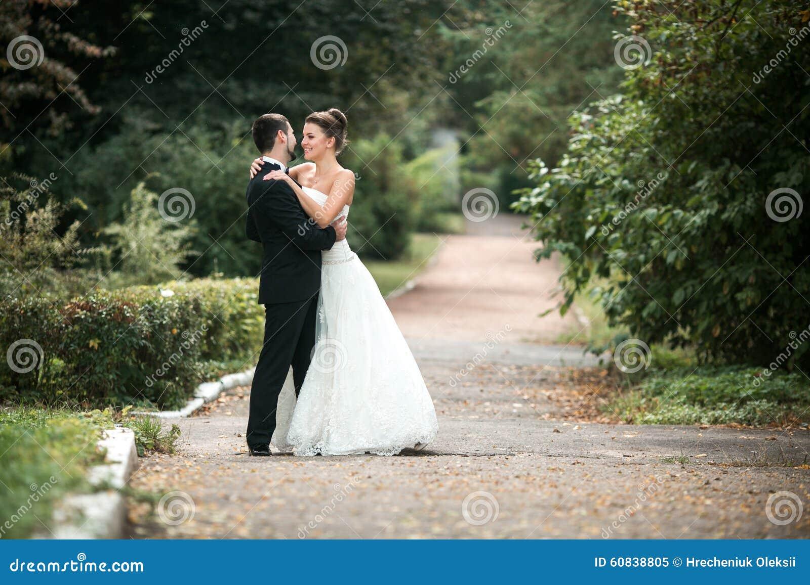 beautiful wedding couple posing stock photo  image 60838805
