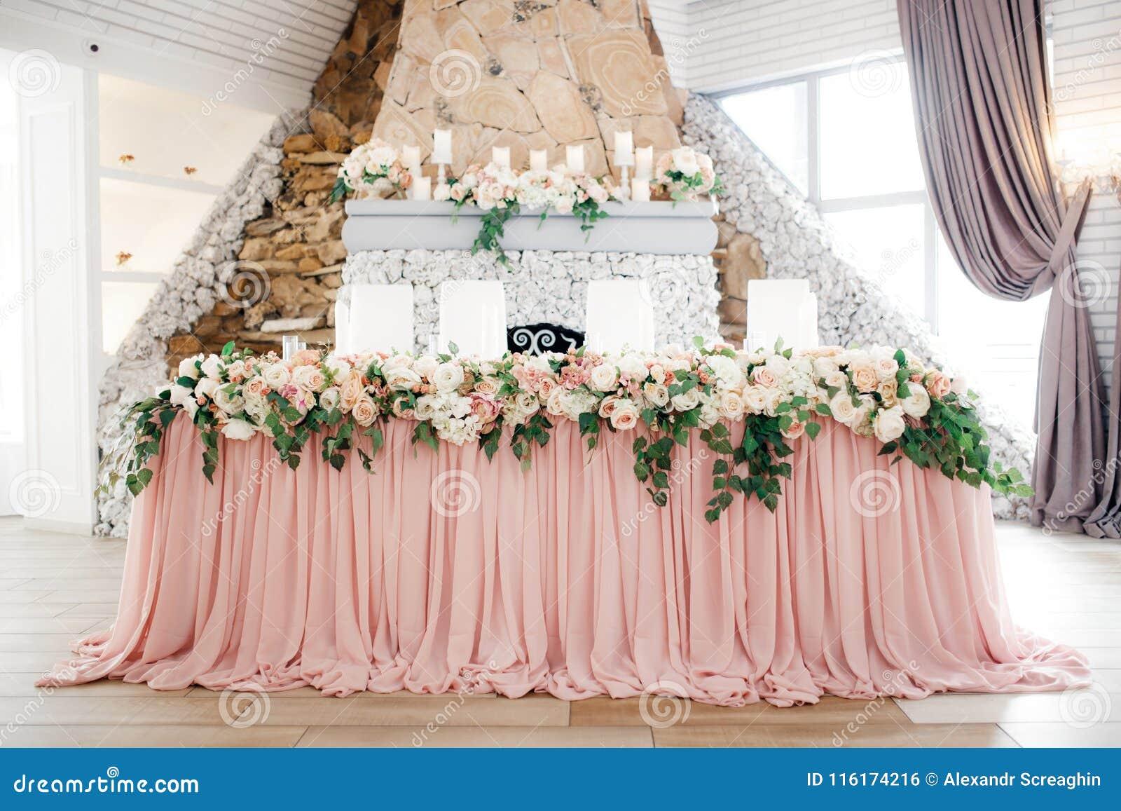 Beautiful wedding decoration set up with flowers.